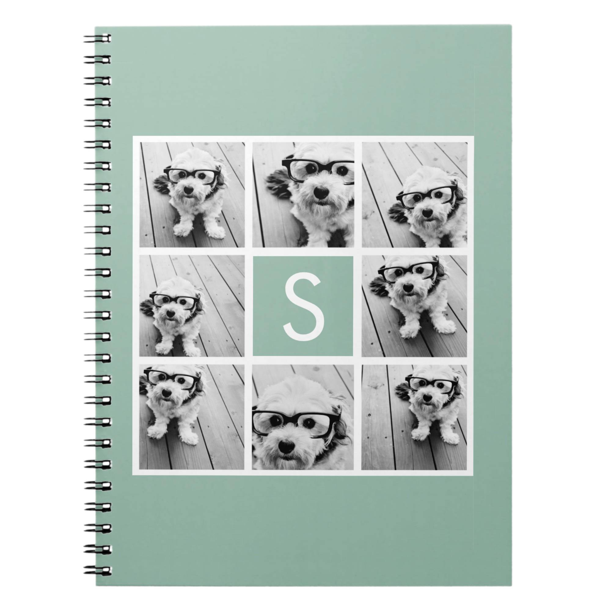 Monogrammable notebooks for back-to-school come in a variety of cool designs including geometrics and animal prints.  Kids can also design their own by uploading photo collages and adding type.