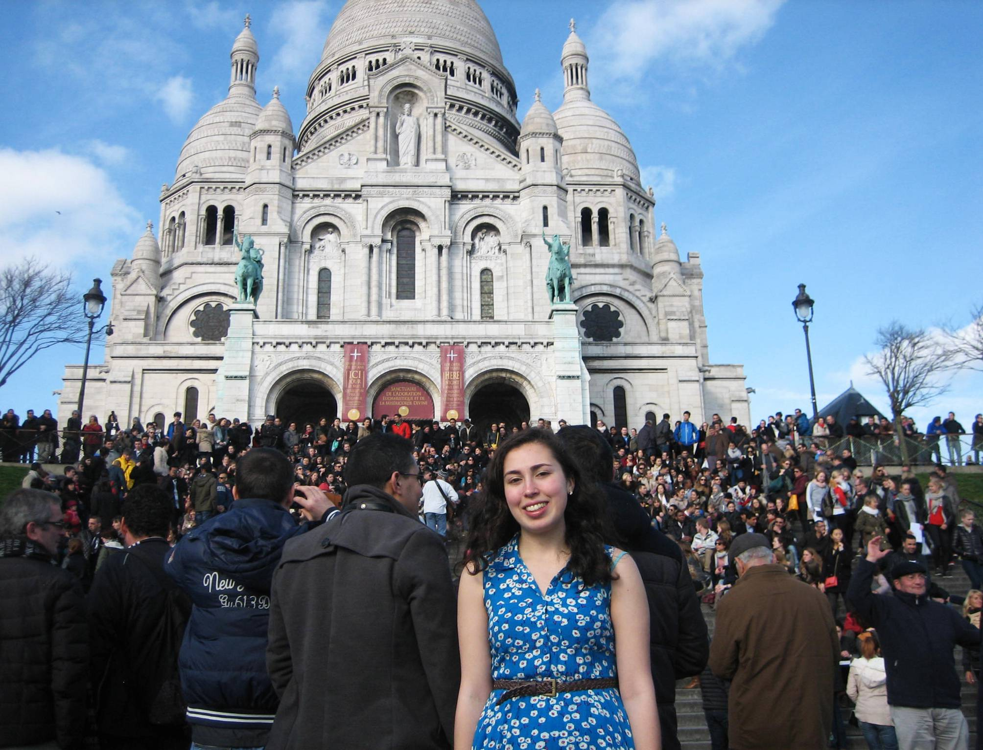 This image provided by Jane Tabachnick shows her daughter Mel Bandler on the steps of Sacre Couer, the famous church in Paris. Bandler studied in Paris as part of her work for a degree from Rutgers University, and stayed in touch with her mom using Skype and GoogleChat. Free and low-cost apps and websites have made it easy for students to remain in contact with families abroad, unlike a generation ago, when Tabachnick studied in Paris and relied on airmailed letters as the main way to stay in touch with her parents.