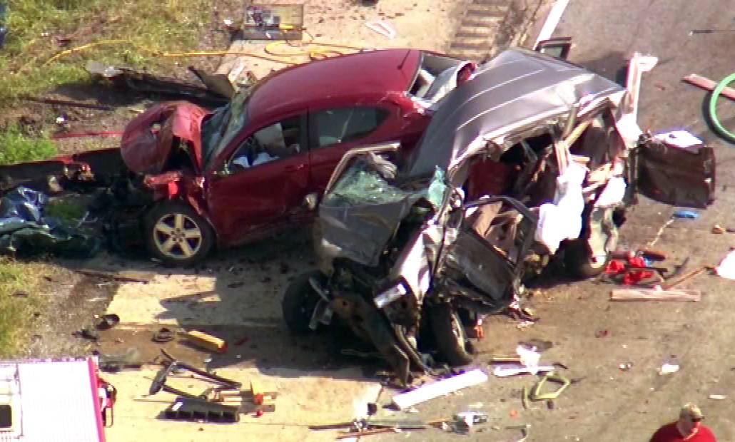 This aerial photo shows the wreckage from a fatal accident Monday afternoon on I-55 near Channahon.
