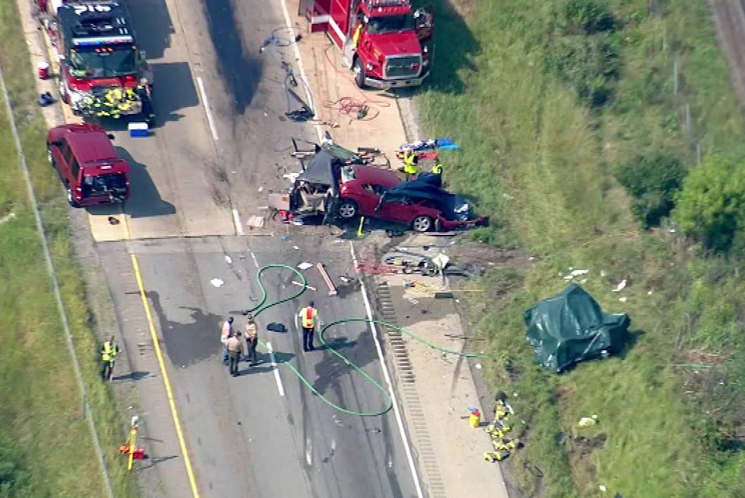 Several people were airlifted to hospitals after this accident on I-55 near Channahon.