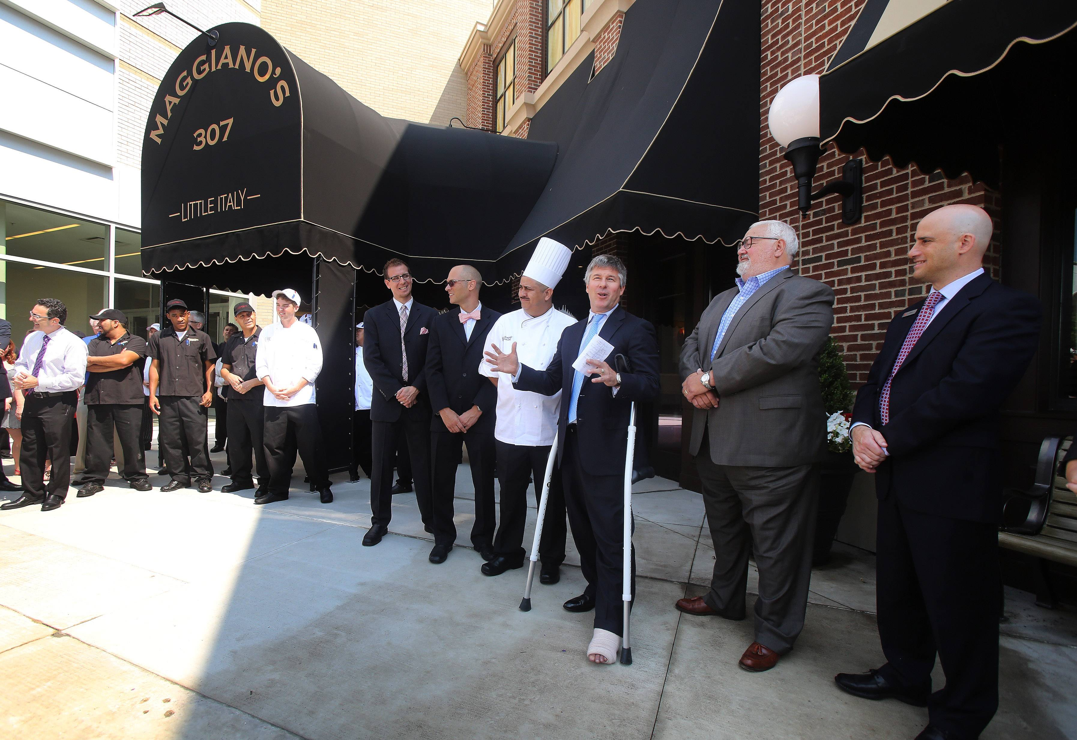 Maggiano's President Steve Provost speaks during the opening of Maggiano's Little Italy at Westfield Hawthorn shopping center Monday in Vernon Hills.