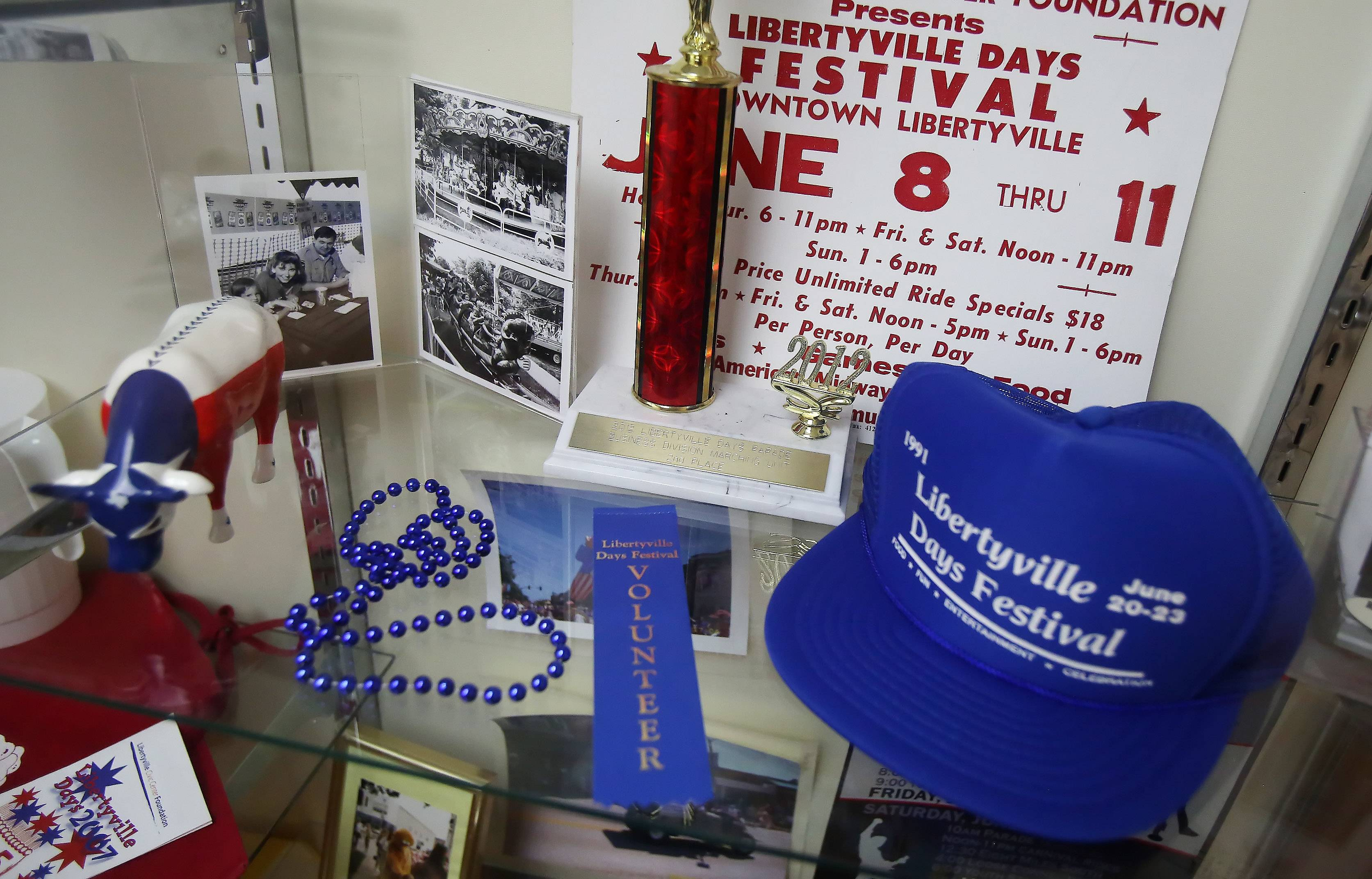 A display of Libertyville Days memorabilia over the years at the Libertyville Civic Center. The center is celebrating its 20th anniversary.