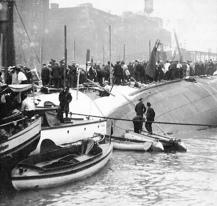 steamer Eastland after it capsized in the Chicago river  July 24, 1915from Center for History Archives