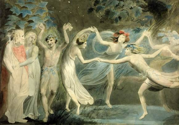 "William Blake's ""Oberon, Titania and Puck with Fairies Dancing"" depicts a scene from William Shakespeare's ""A Midsummer Night's Dream."" Citadel Theatre will perform the play Aug. 1-3 at Ryerson Woods in Riverwoods."