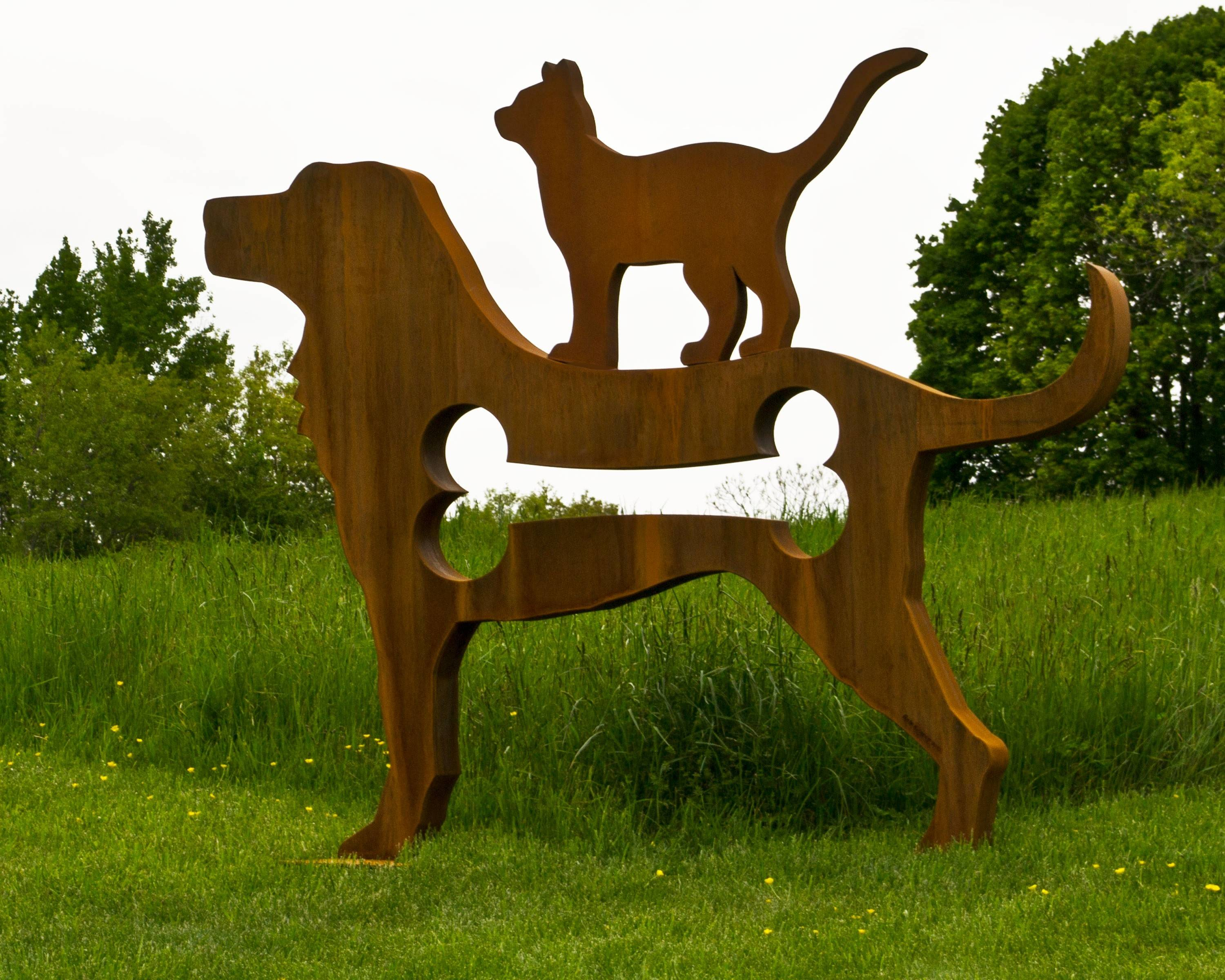 Century Walk Corp. is teaming with the Naperville Area Humane Society to install this sculpture of a cat and dog by artist Dale Rogers east of Centennial Beach along the Riverwalk. A dedication ceremony is scheduled for 1 p.m. Sunday, Aug. 17.