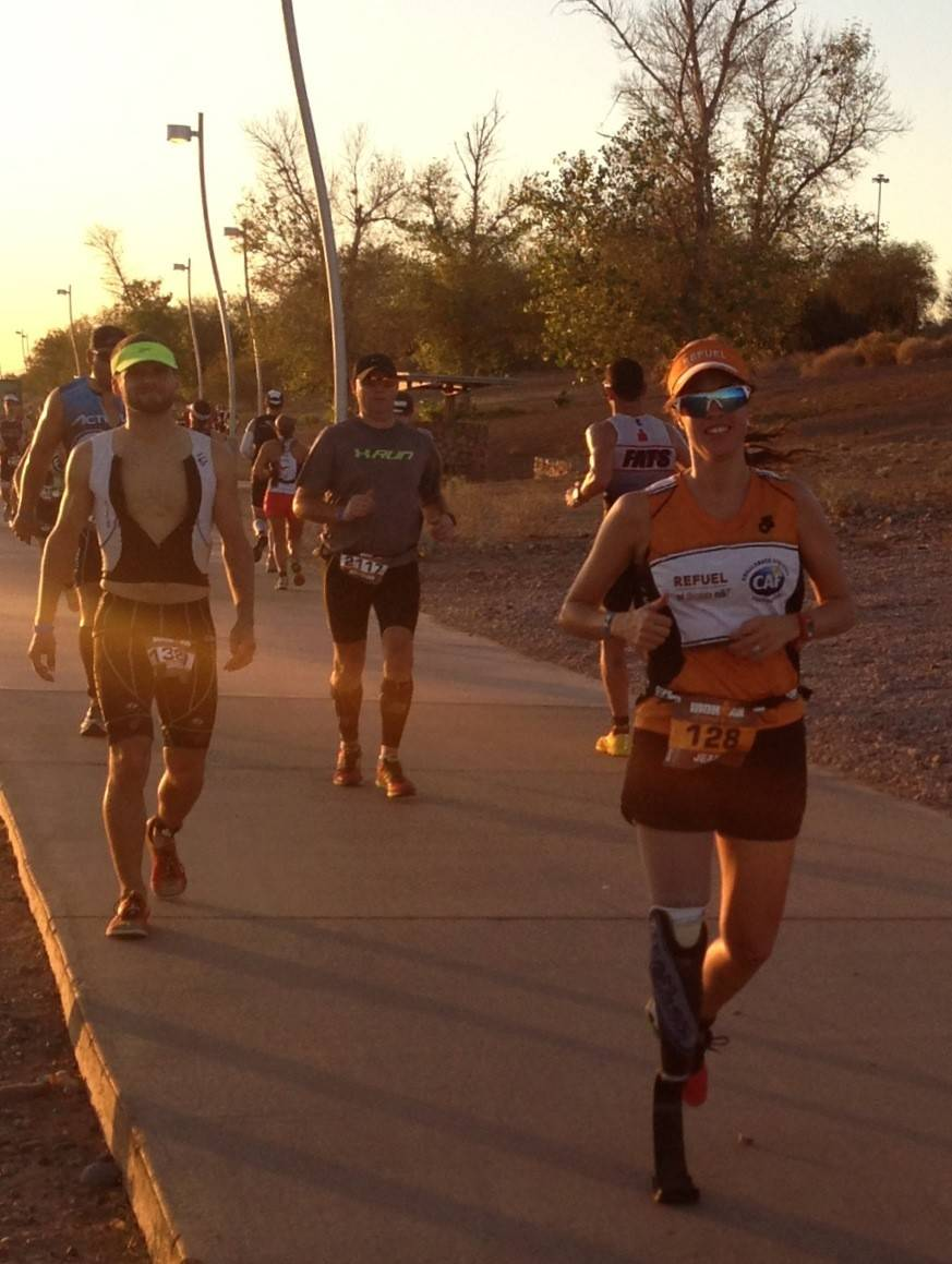 Jean Draper of Arlington Heights competed in Sunday's Rock 'n' Roll half-marathon. She is a below-the-knee amputee. Here, she is competing in Ironman Arizona last November in Tempe.