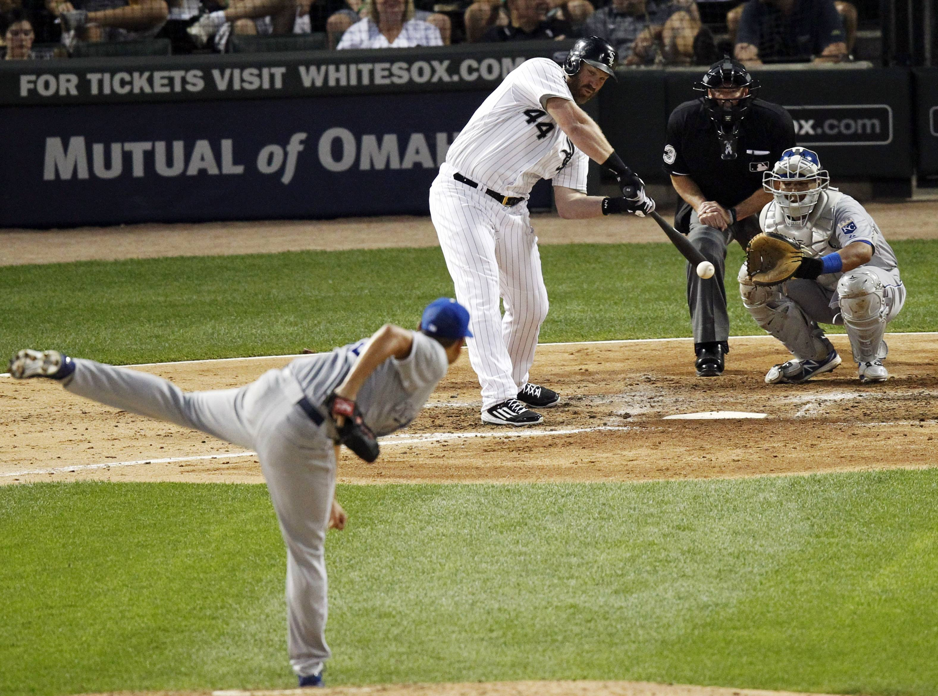 The White Sox's Adam Dunn hits a home run off Kansas City Royals' Bruce Chen during Tuesday's game at U.S. Cellular Field. The Sox lost 7-1.