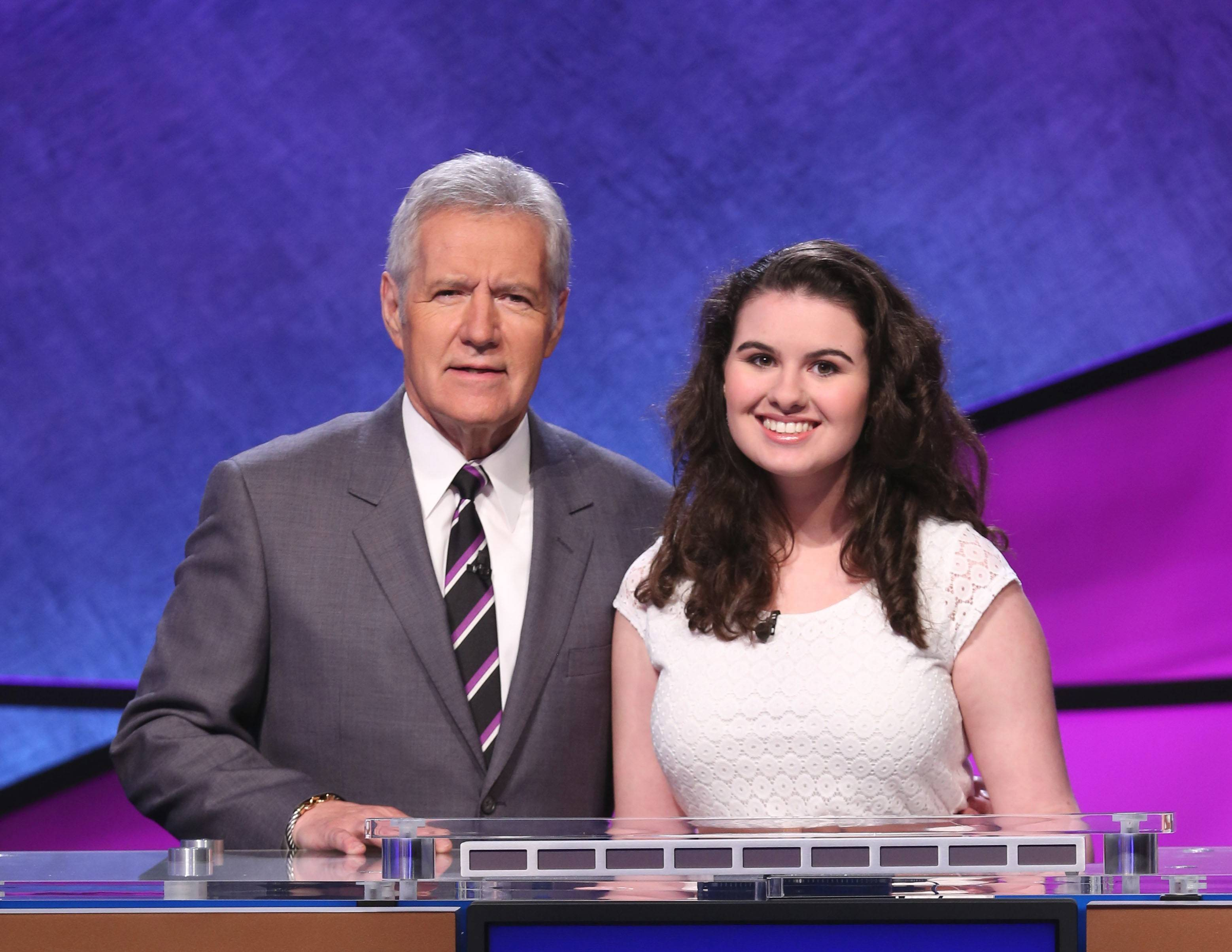 "Selena Groh, a 17-year-old junior at Buffalo Grove High School, with ""Jeopardy!"" host Alex Trebek."