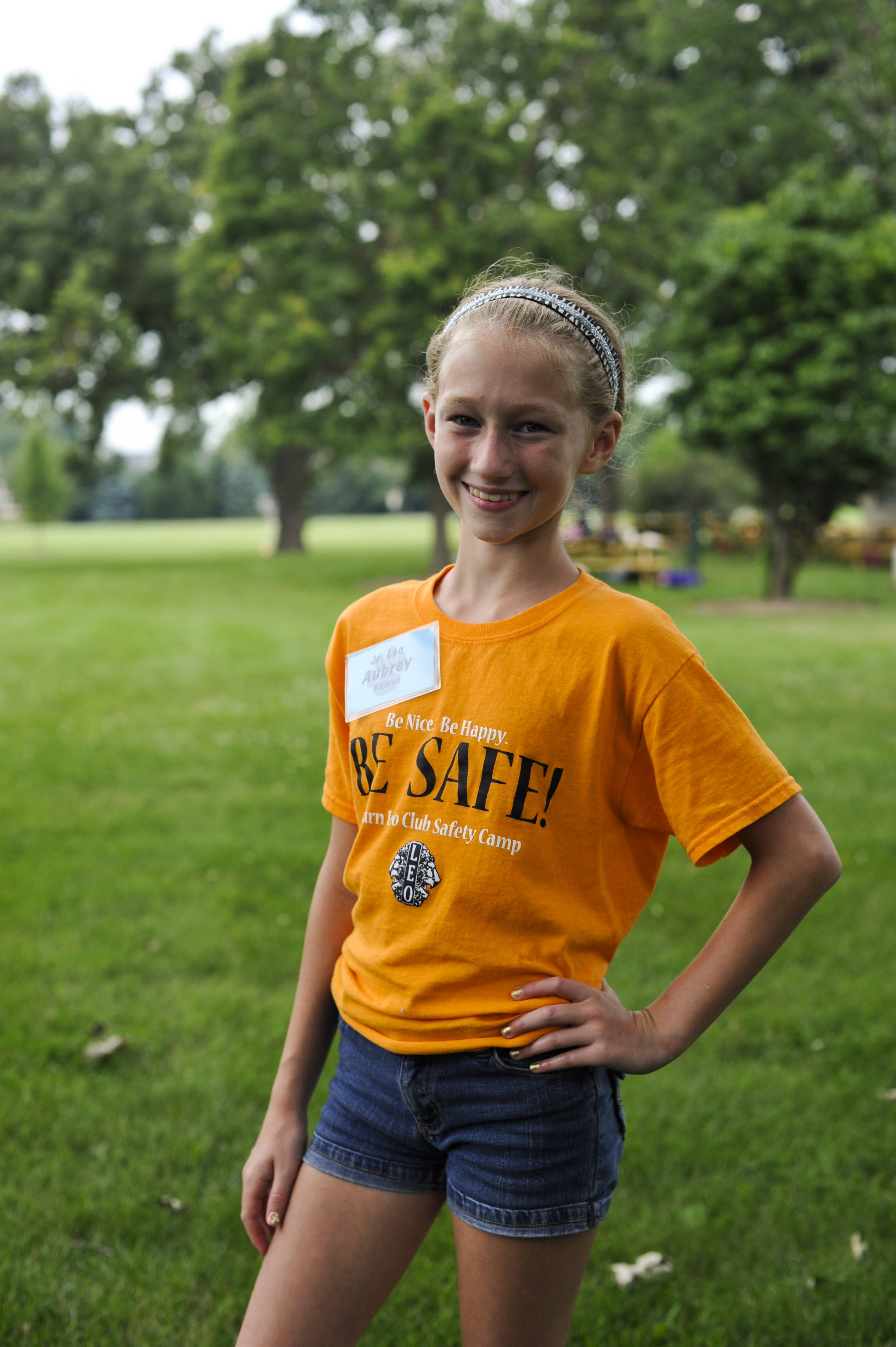 Aubrey Broz, 11, of Elburn, poses for a portrait at the Elburn Lions Club on Tuesday. Broz started the camp after hearing about the death of 13-year-old Caity Phillips last year. The two-day camp was free for kids ages 7-10 and taught them about how to stay safe in a variety of situations.