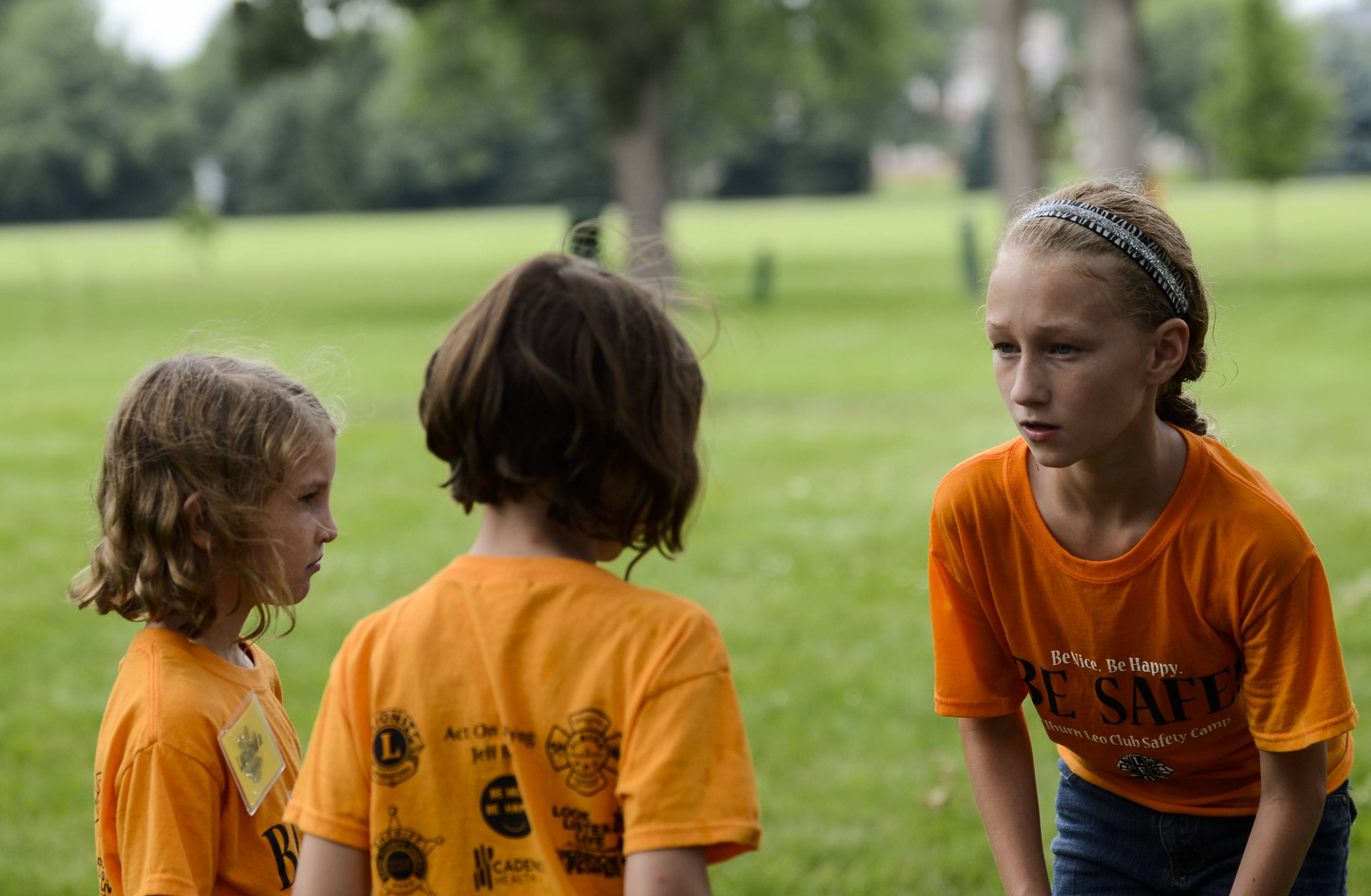 Aubrey Broz, 11, of Elburn, helps two younger girls, Delia and Lucinda Connelly, both 7, of Elburn during the Safety camp at Elburn Lions Club on Tuesday. Broz started the camp after hearing about the death of 13-year-old Caity Phillips last year. The two-day camp was free for kids ages 7-10 and taught them about how to stay safe in a variety of situations.