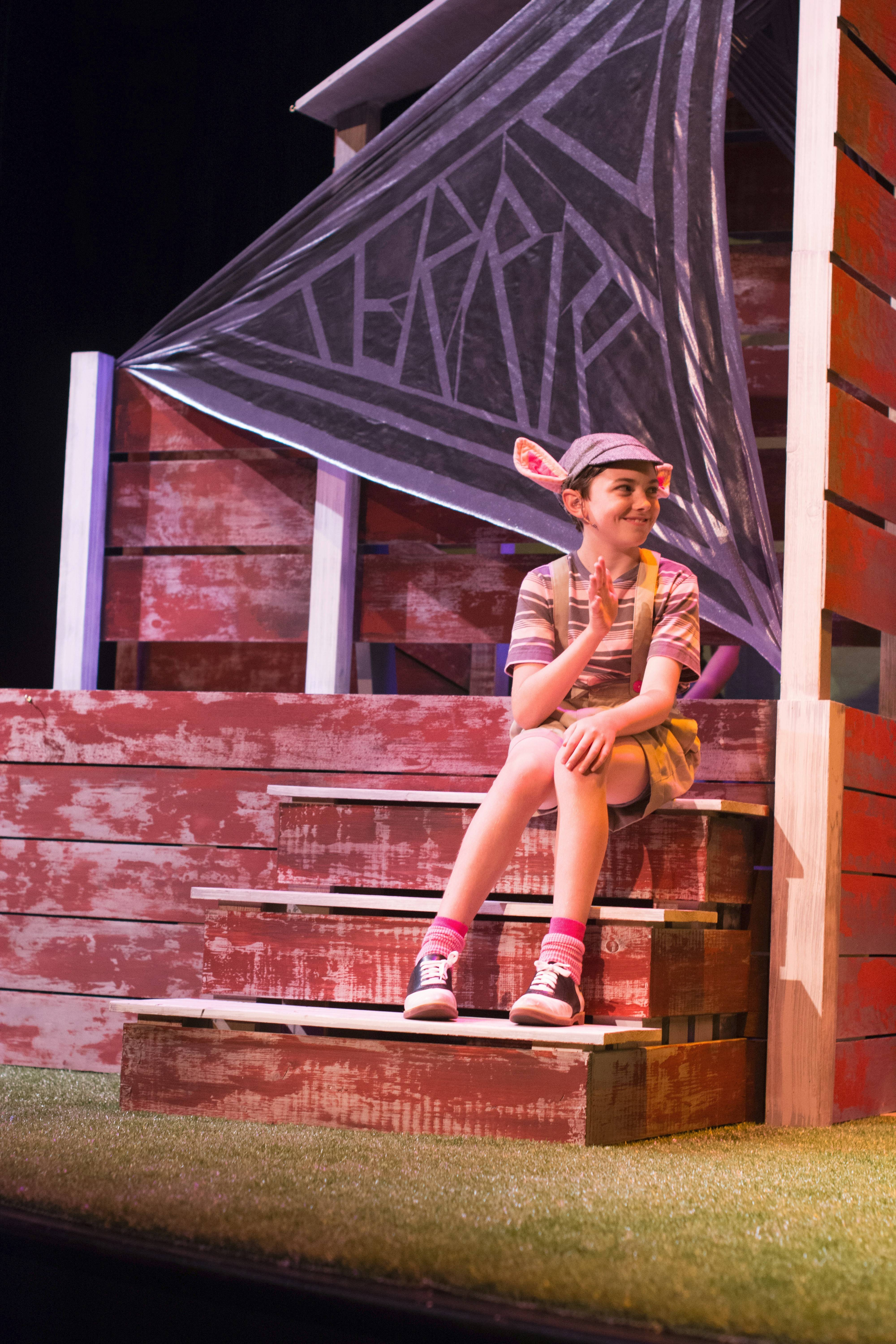 "Liam Dahlborn stars as piglet Wilbur in ""Charlotte's Web,"" playing at the Broadway Playhouse at Water Tower Place through Aug. 17."