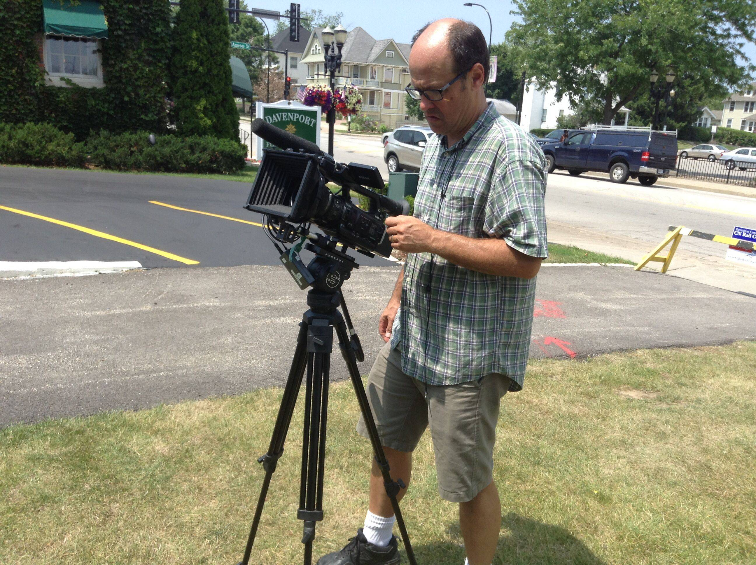 Jeff Baustert films the Barrington White House as part of a documentary he is working on about the renovation project. Baustert has worked in the movie industry in Hollywood since 1987.