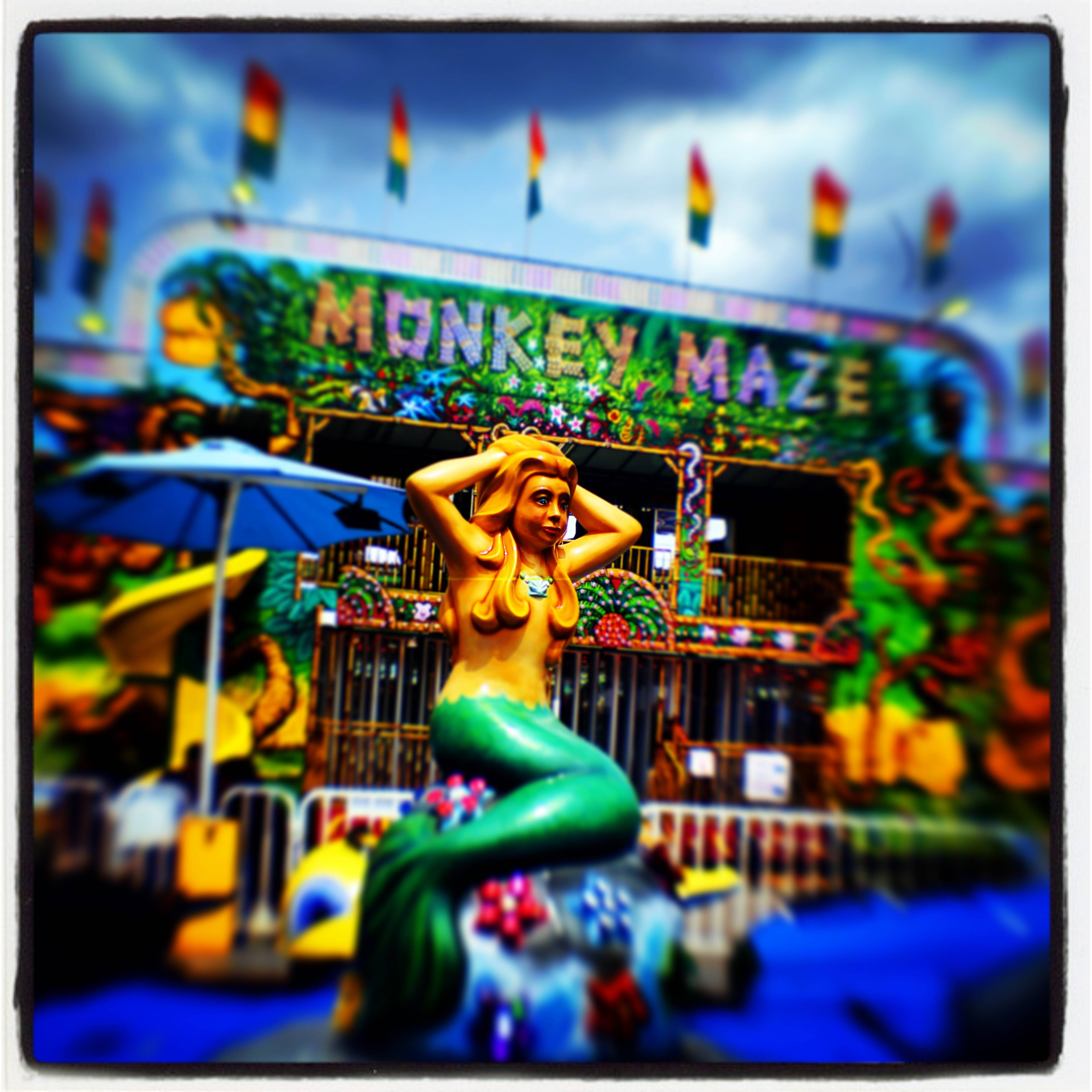 Brian Hill/bhill@dailyherald.com A mermaid and the Monkey Maze come together in a sea of colors at the Kane County Fair in St. Charles. @thebrianhill used a Lensbaby plastic tilt/shift lens with an old Sony wide angle video adapter lens to get the effect.