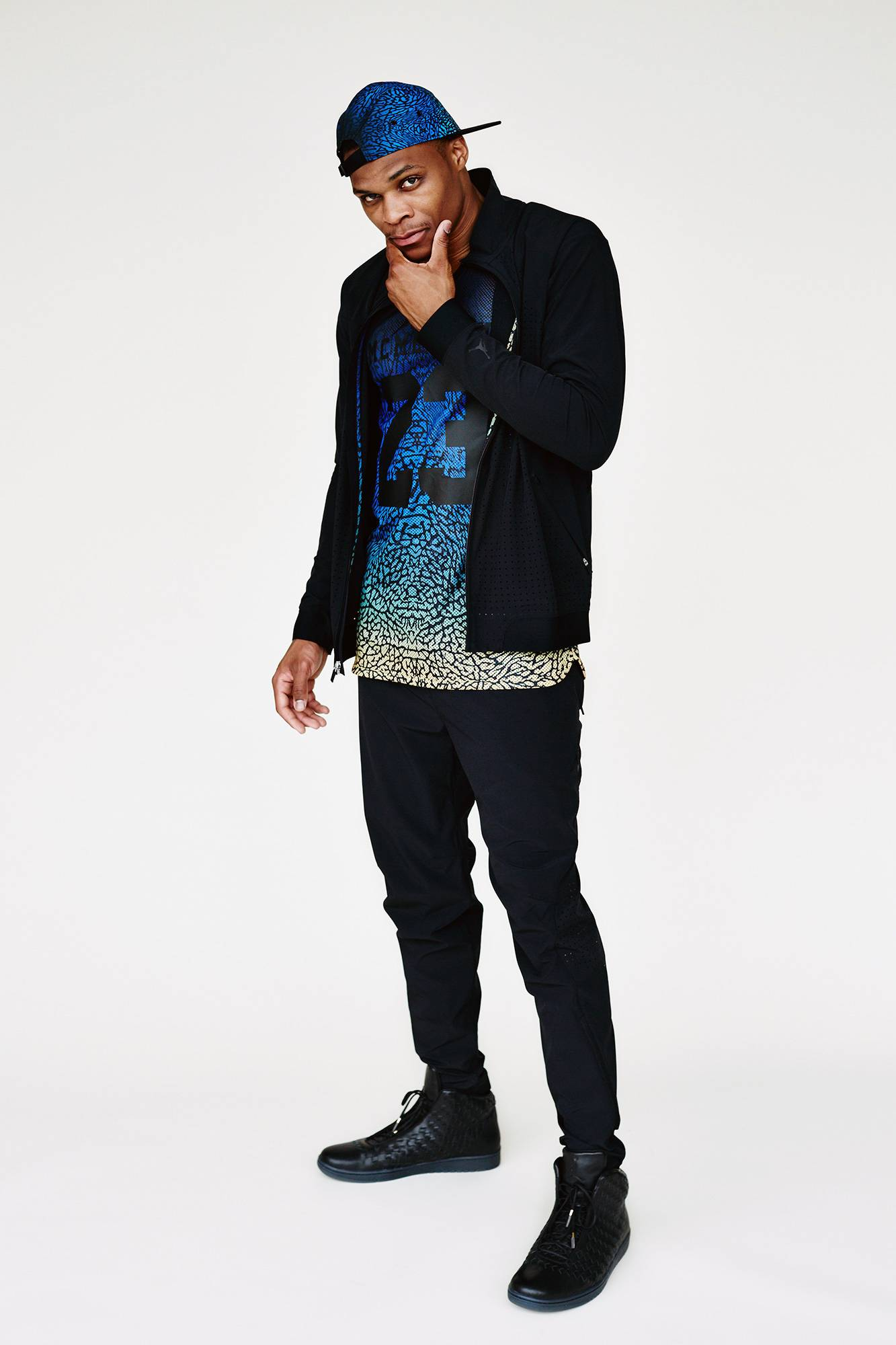 Oklahoma City Thunder point guard Russell Westbrook wears items from his clothing line called Westbrook--XO-Barneys New York.