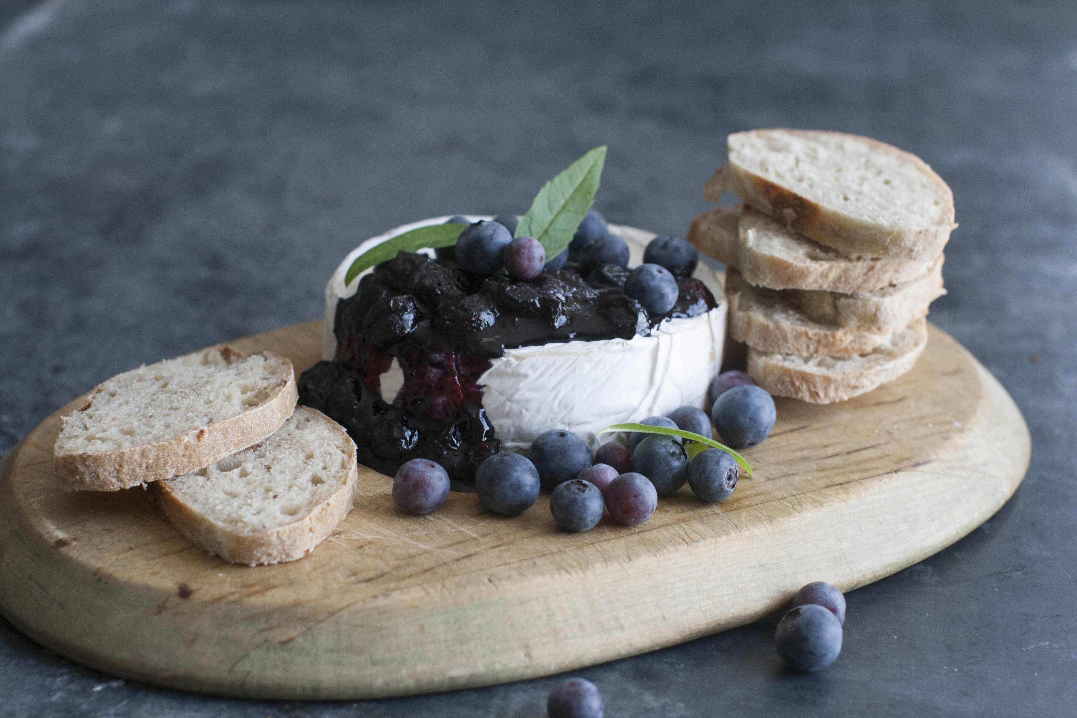 Try fresh blueberries in a topping for brie.