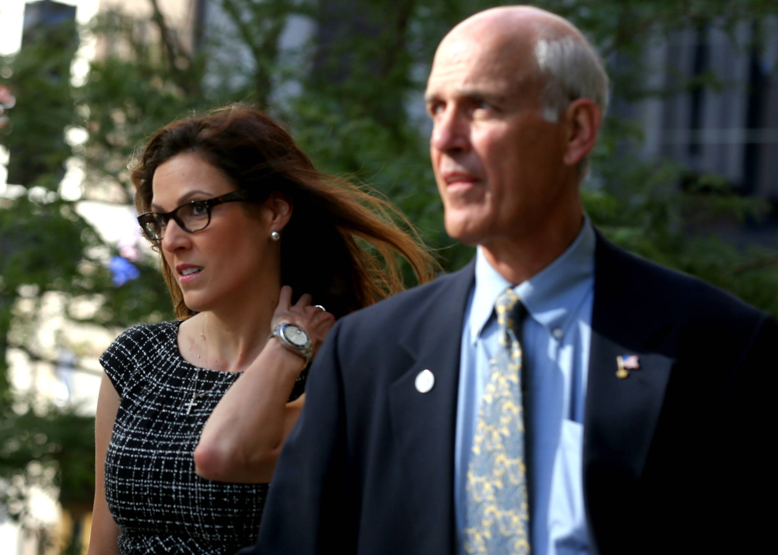 Taya Kyle, widow of late Navy Seal and author Chris Kyle, arrives at court in St. Paul, Minn.