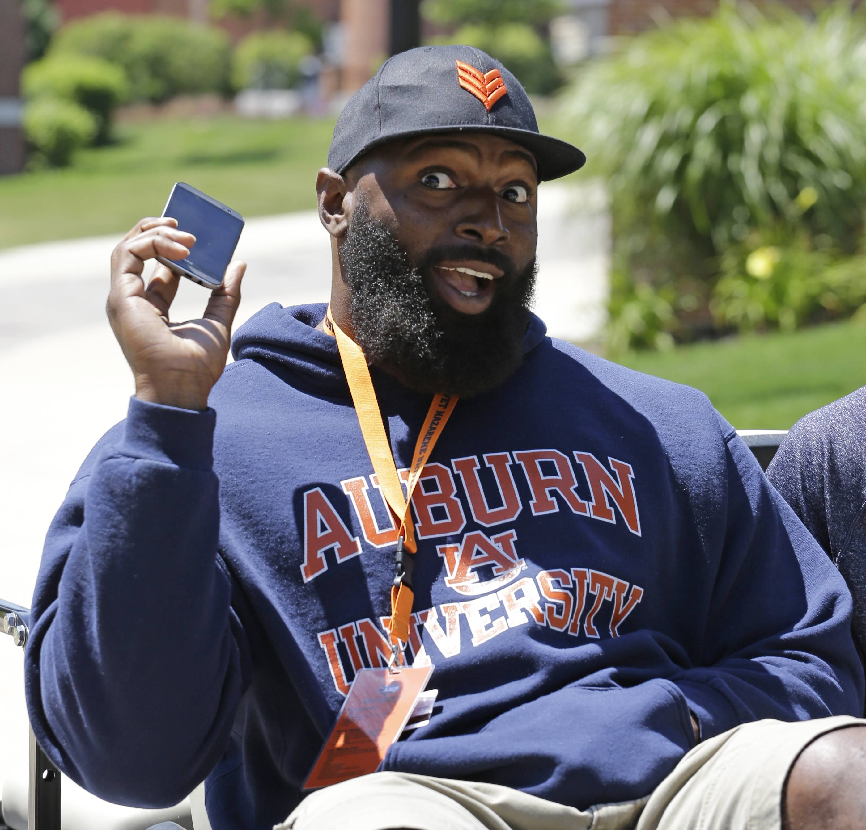 Bears defensive tackle Jeremiah Ratliff (90) poses for the media during the team's NFL football training camp at Olivet Nazarene University on Wednesday, July 23, 2014., in Bourbonnais, Ill.