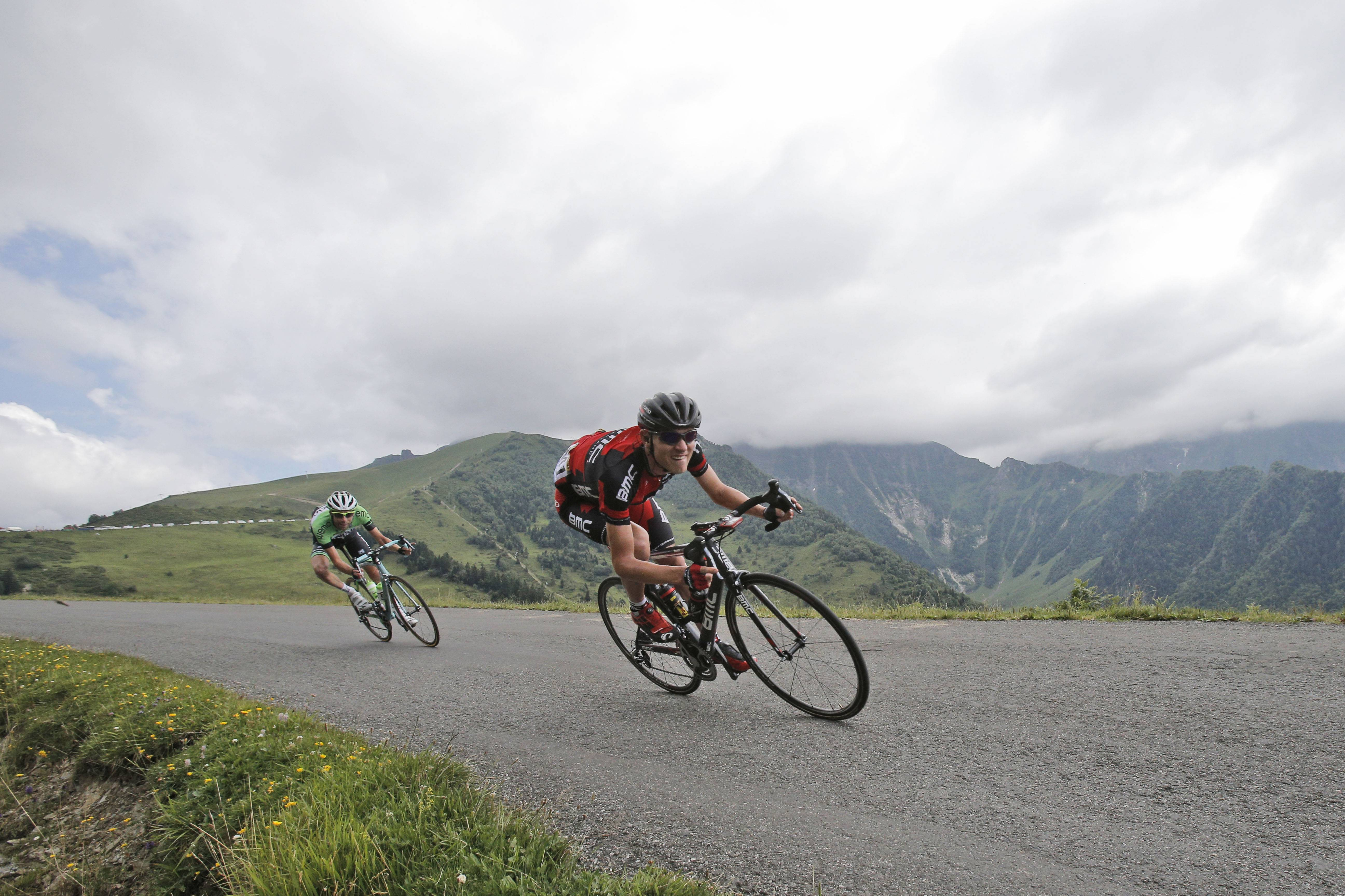 Tejay van Garderen of the U.S., right, and Netherlands' Laurens ten Dam, left, speed down Val Louron Azet pass during the seventeenth stage of the Tour de France cycling race over 124.5 kilometers (77.4 miles) with start in Saint-Gaudens and finish in Saint-Lary, France, Wednesday, July 23, 2014.