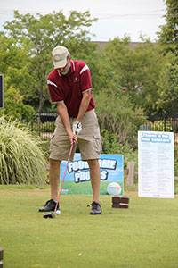 A golfer prepares to tee off during the Sixth Annual Links Technology Cup.Schaumburg Park District