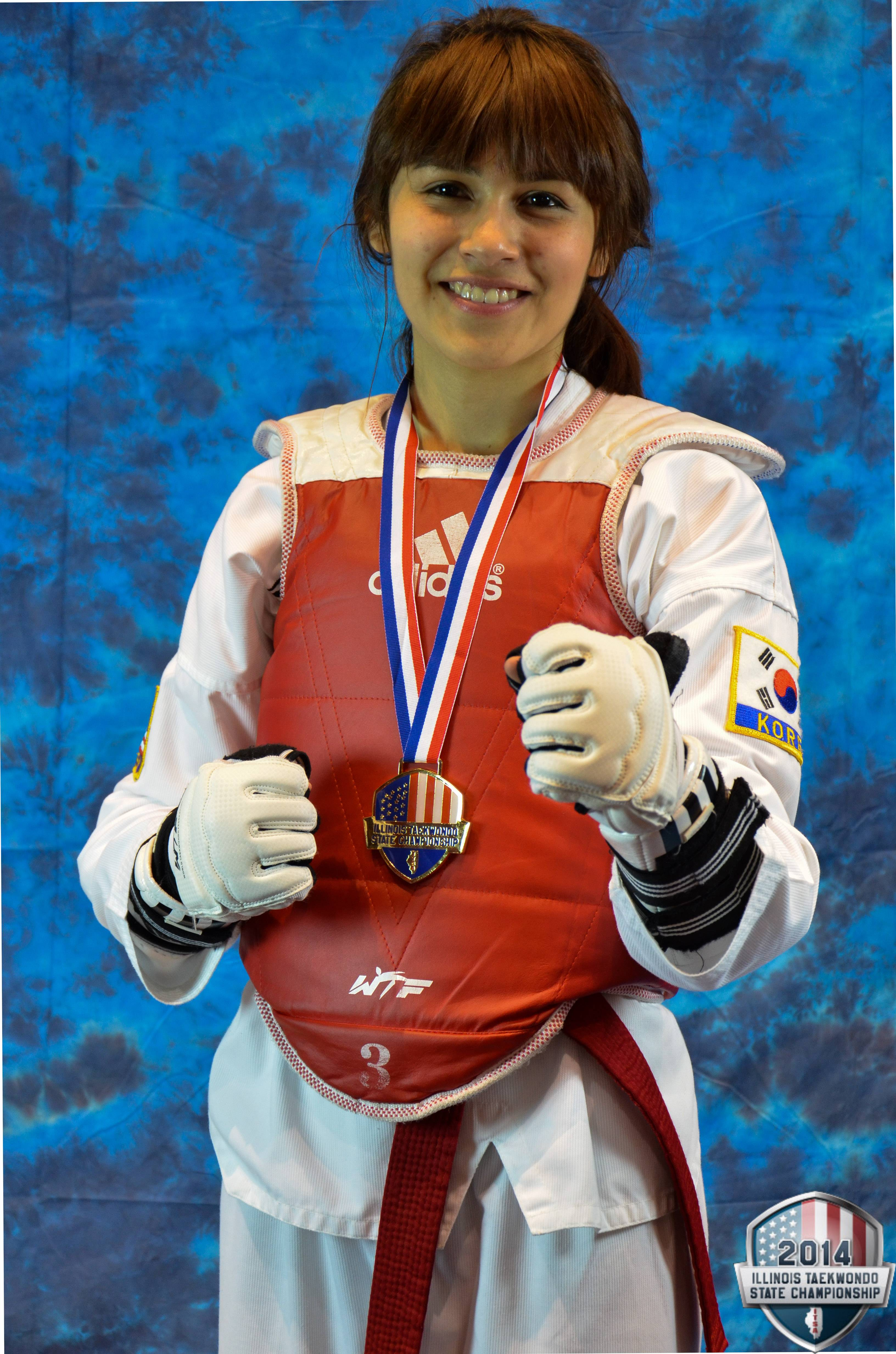 Nancy Cabrera after her win at the 2014 Illinois Taekwondo State Championship and earned her a spot at the USA Taekwondo National Championships.  IBRM Imagery