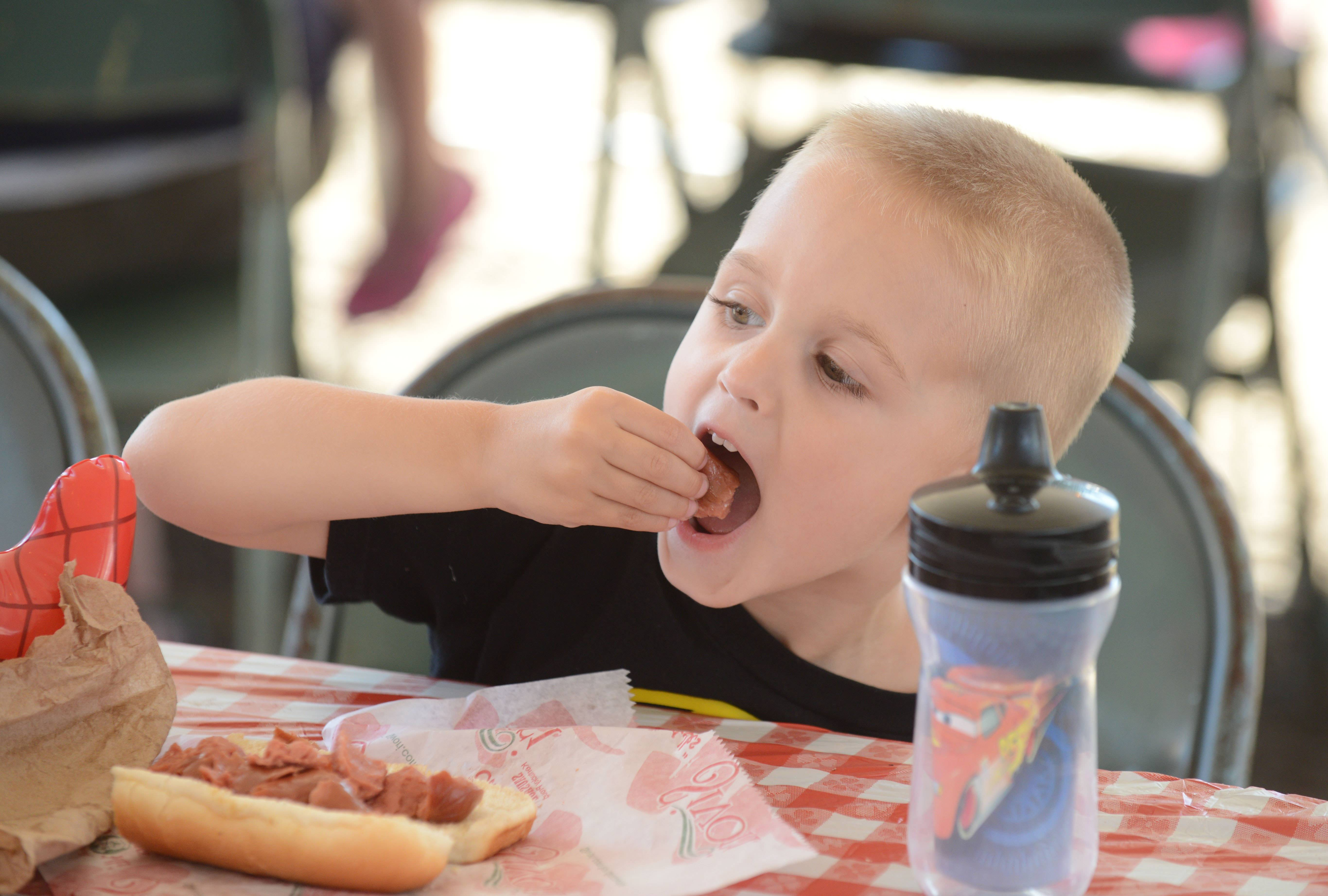 Paul Michna/pmichna@dailyherald.com Quinn Freyer, 3, of Mokena enjoys a hotdog at the second day of the 2014 DuPage County Fair in Wheaton. The fair runs through sunday and has something for everyone to enjoy.