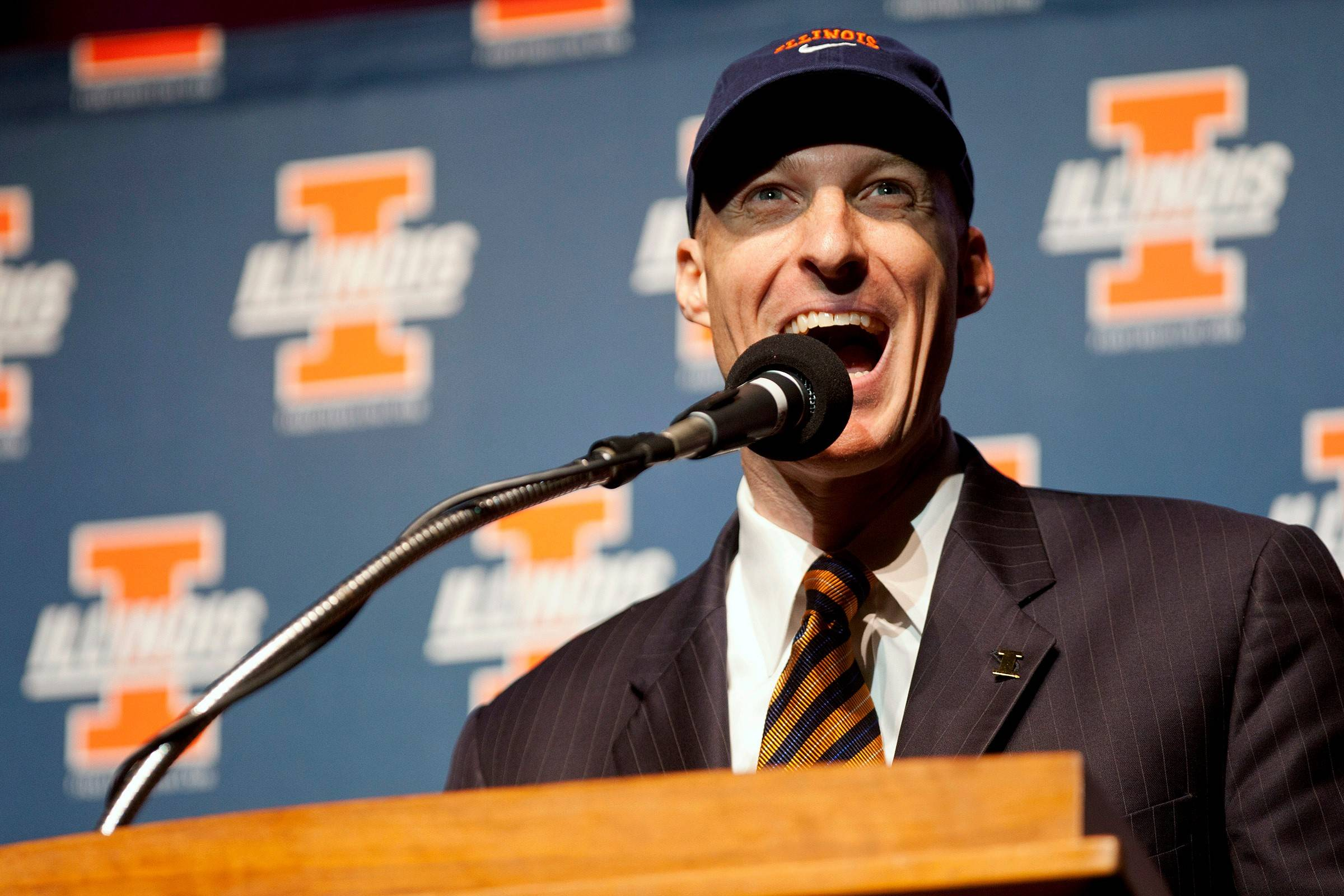 New Illinois men's basketball coach John Groce speaks during his introductory news conference, Thursday, March 29, 2012, in Champaign, Ill. Groce is replacing the fired Bruce Weber after compiling a 85-56 overall record and 34-30 in MAC games at Ohio. (AP Photo/Herald & Review, Stephen Haas) MANDATORY CREDIT