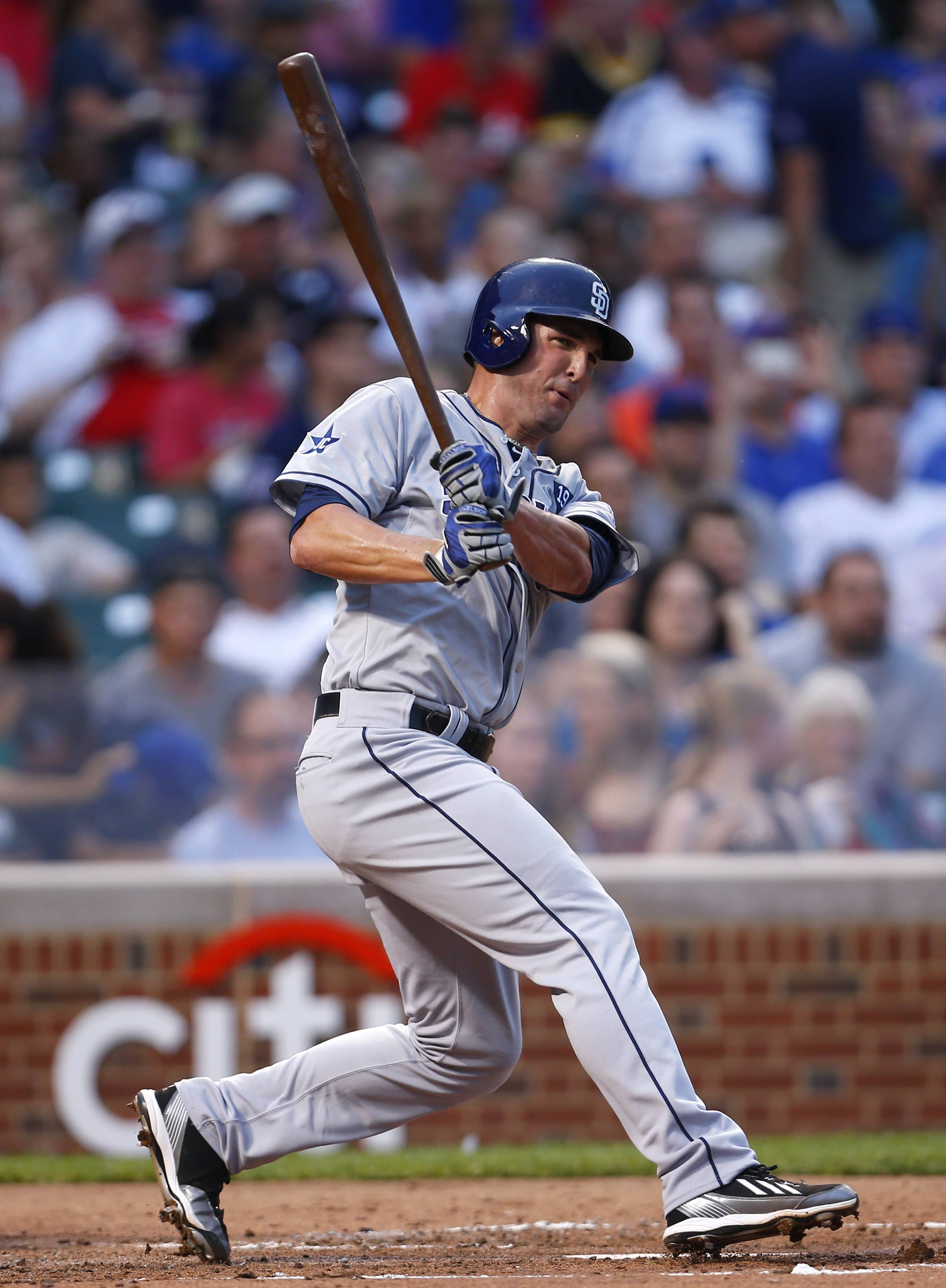 Padres first baseman and Hampshire grad Jake Goebbert makes a line-drive out in the second inning Tuesday at Wrigley Field. Goebbert was called up when San Diego's regular first baseman, Yonder Alonso, went on the disabled list in mid-June.