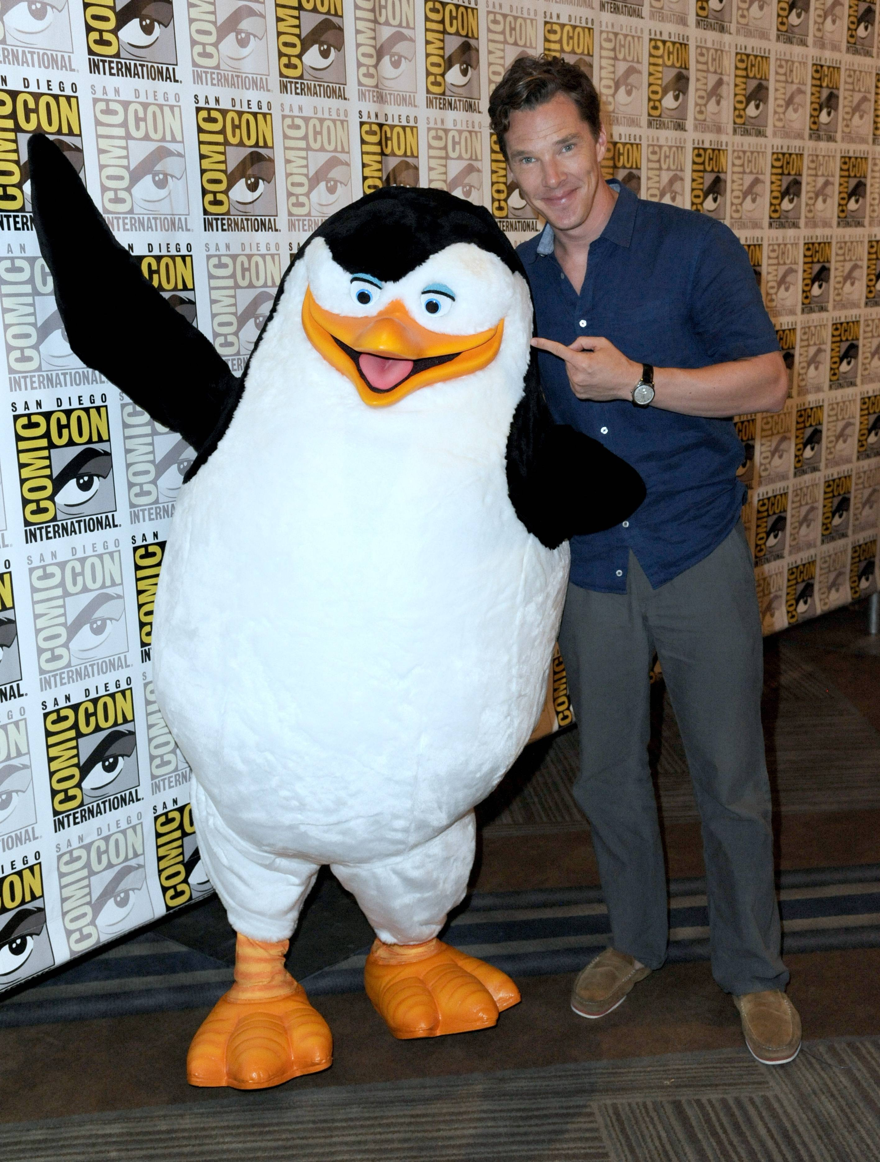 "Benedict Cumberbatch attends ""The Penguins of Madagascar"" press line on Day 1 of Comic-Con International on Thursday, July 24, 2014, in San Diego."