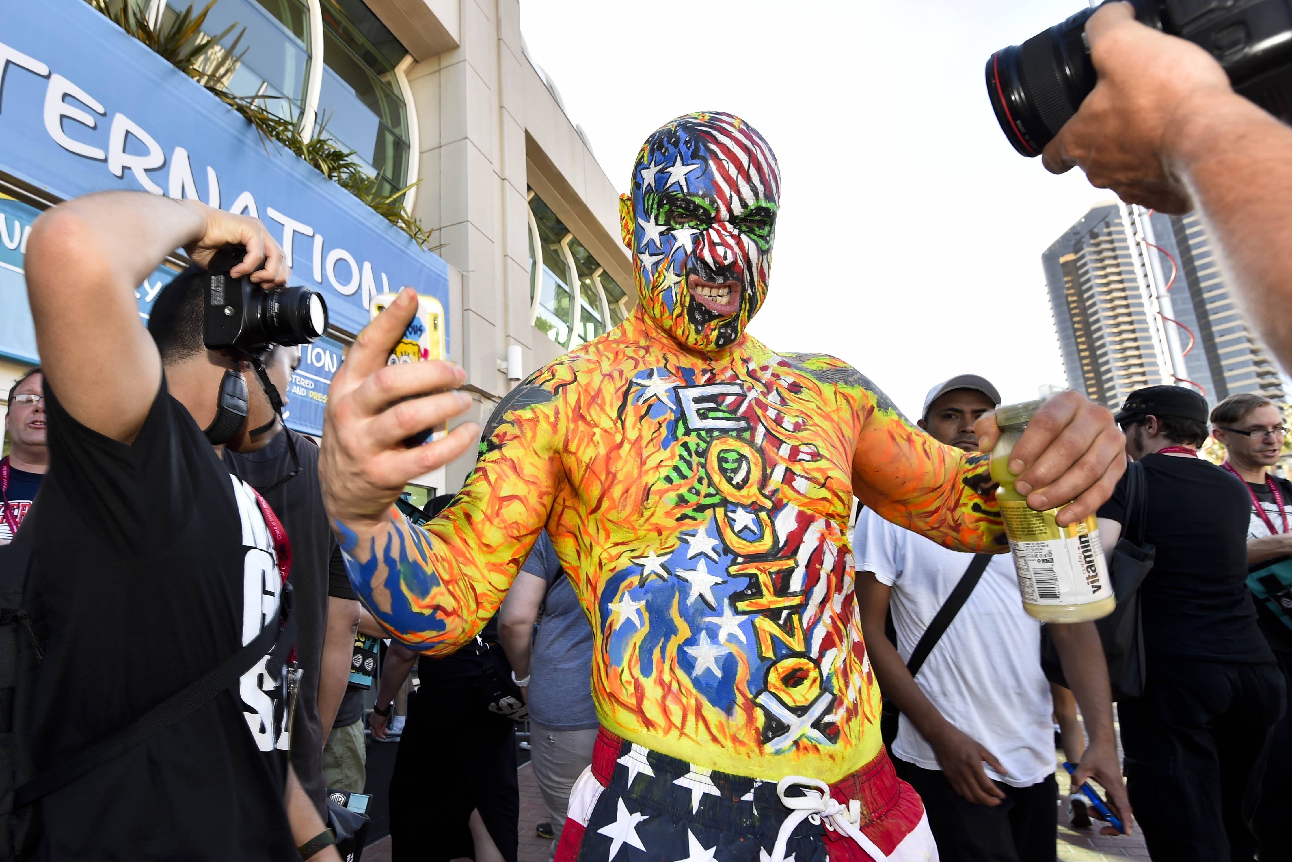 Fans like Chris Keyes were ready in costume for Wednesday's preview night at the 2014 Comic-Con International Convention that officially opens today in San Diego.