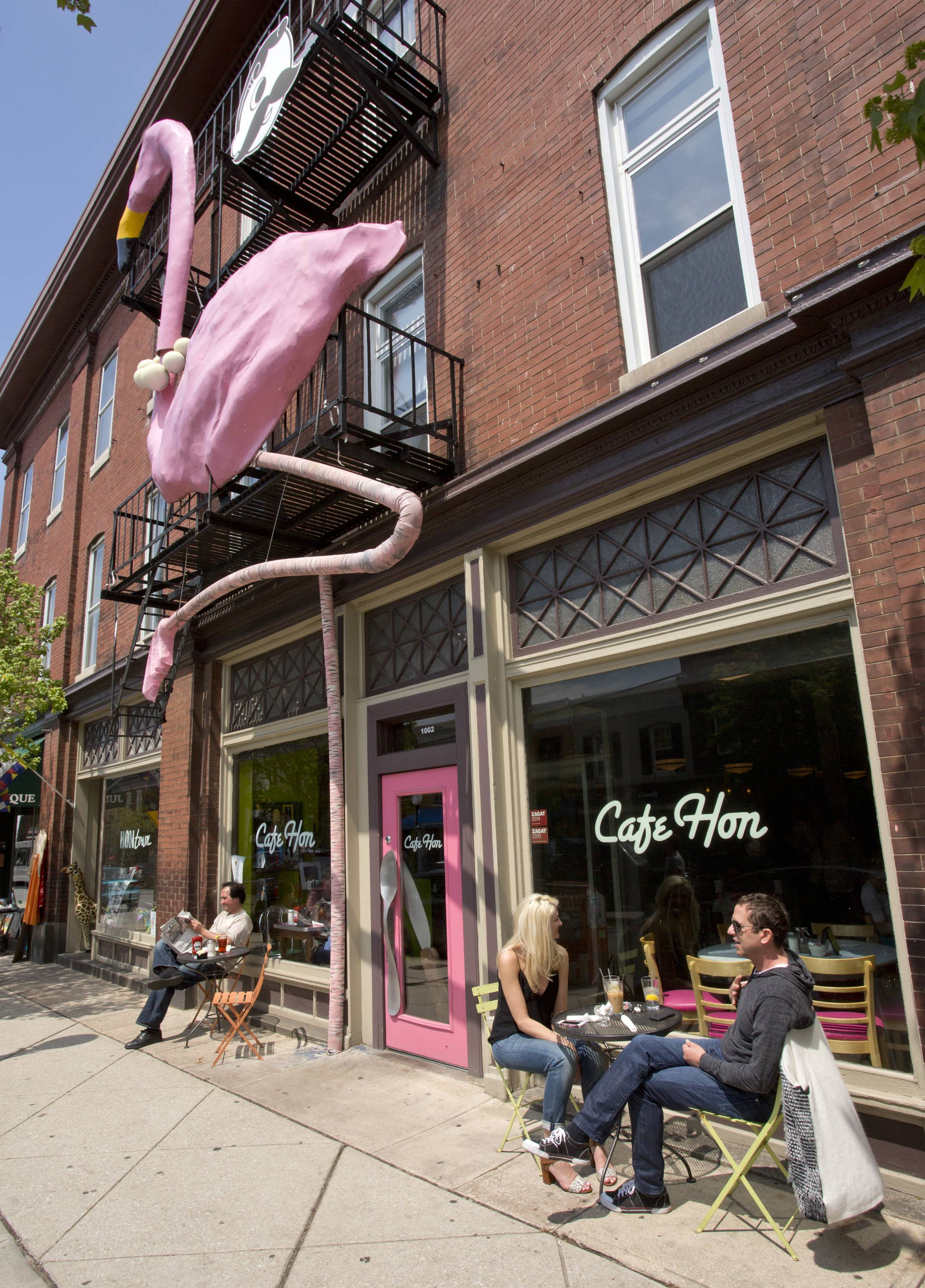 This giant pink flamingo sits outside Cafe Hon, an eatery along West 36th Street in the Hampden neighborhood of Baltimore. The neighborhood is known as a place where hipsters and kitsch Baltimore culture converge, and West 36th Street is lined with restaurants, vintage shops and antiques stores.