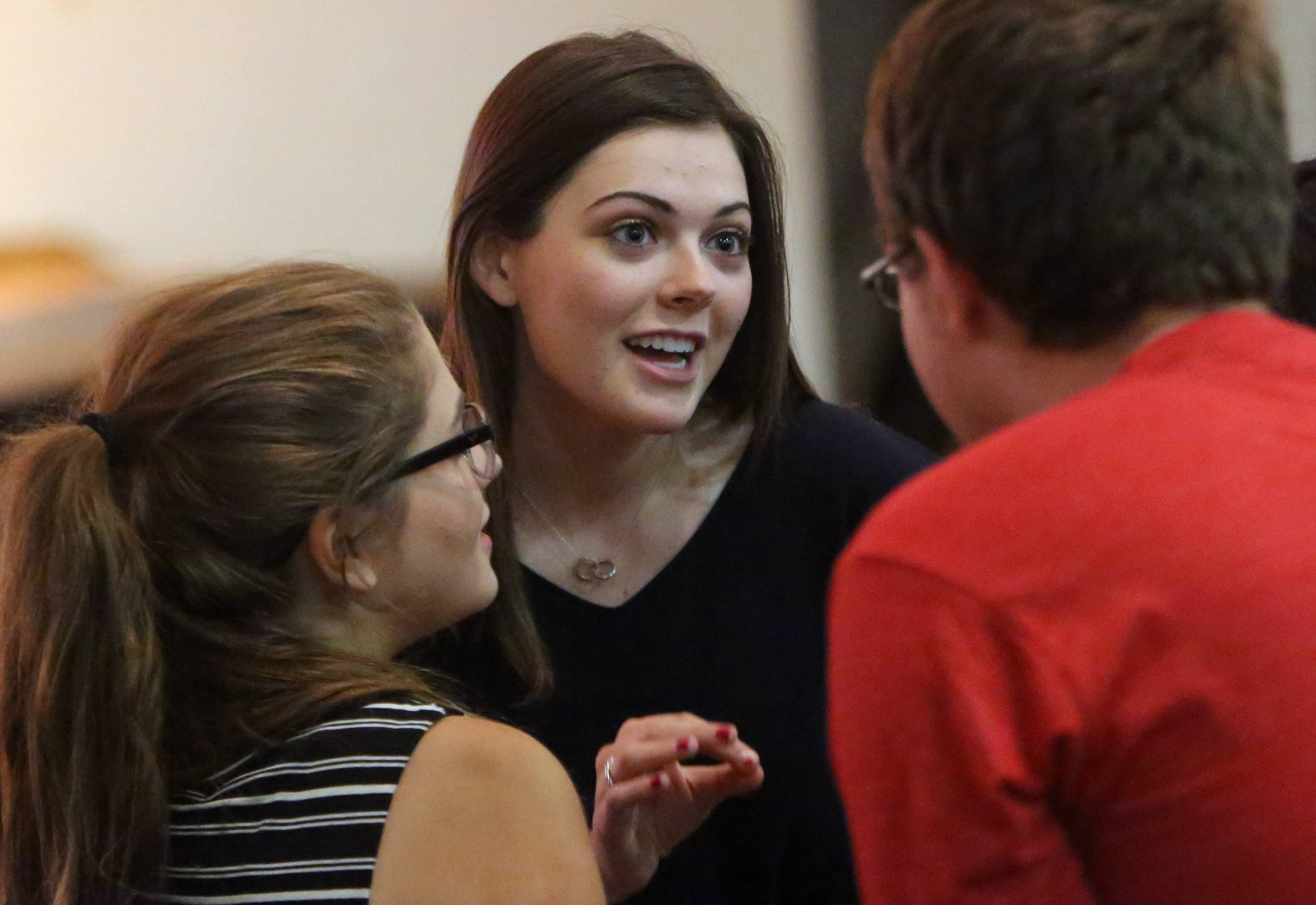 "Monica Tipperreiter speaks with castmates before a rehearsal for her dream role in the musical ""The Secret Garden"" at Mundelein High School. Monica was set to star in the production in the spring before the discovery of a brain tumor. The school is restaging the production for a one-time encore performance Friday."