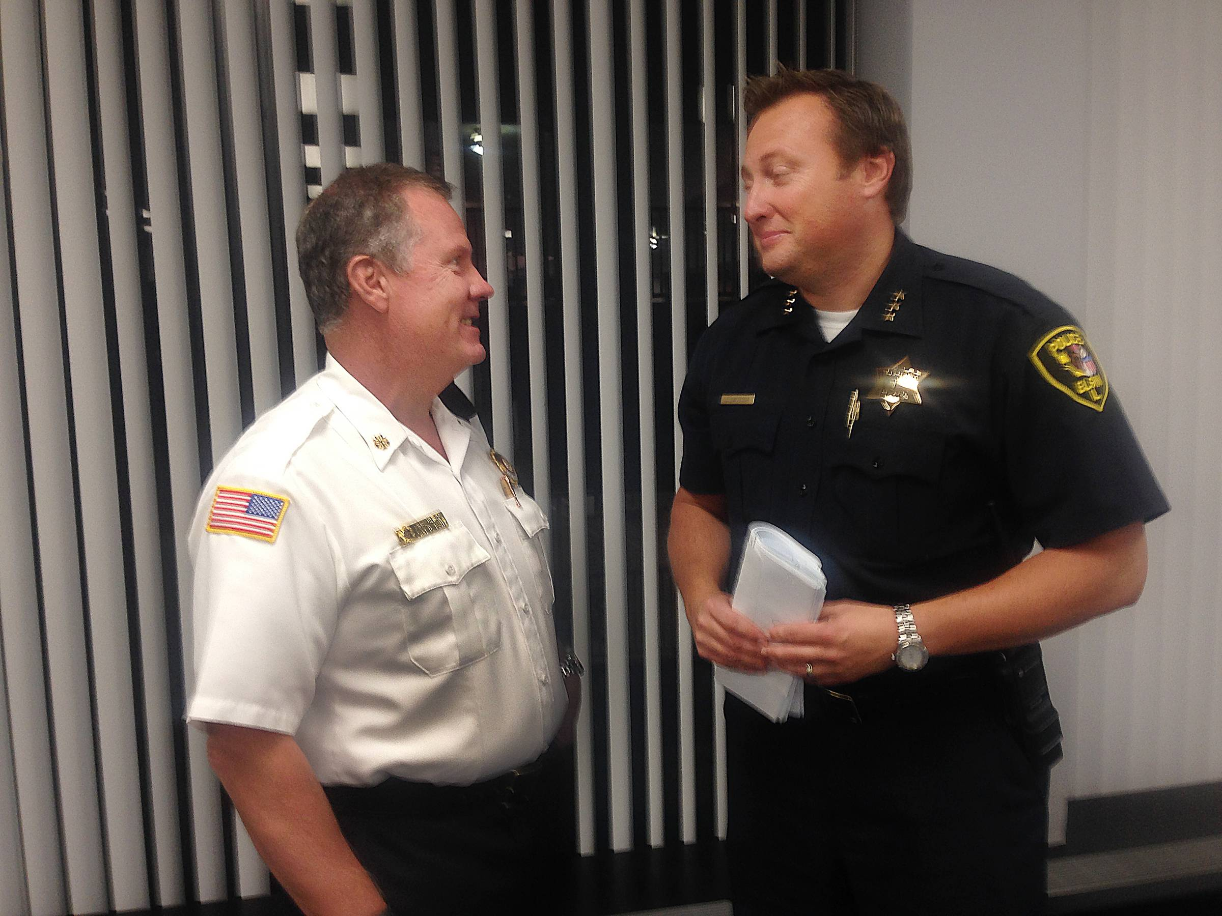 Elgin Fire Chief John Fahy, left, and Elgin Police Chief Jeff Swoboda will become members of the city's board of fire and police commissioners if the Elgin City Council finalizes its preliminary decision made Wednesday night.