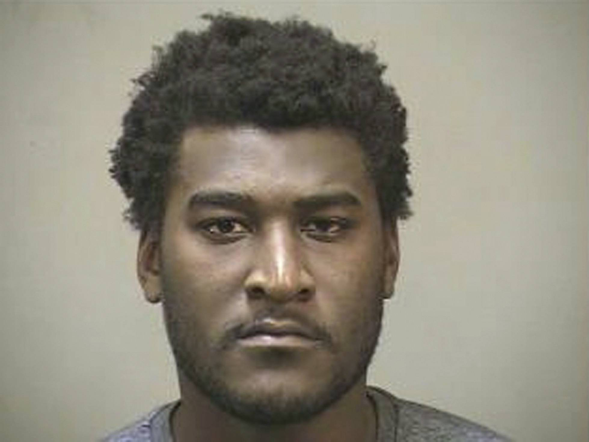 In this photo provided by the Edmond, Okla. Police Department, Justin Blackmon is pictured in a booking photo dated July 23, 2014. Blackmon, a former standout at Oklahoma State, was arrested Wednesday evening in the Oklahoma City suburb of Edmond on a complaint of marijuana possession.
