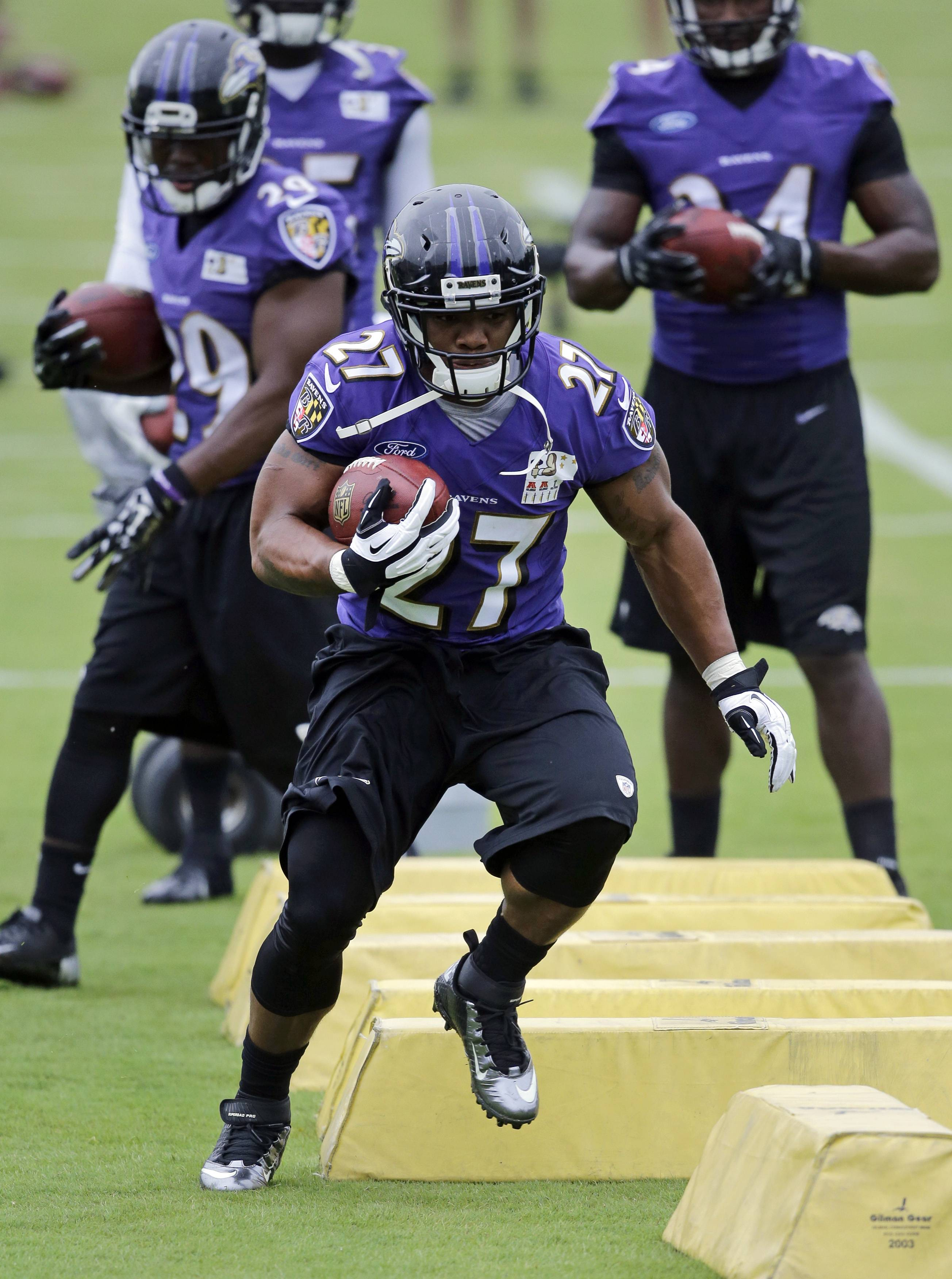 Baltimore Ravens running back Ray Rice received a two-game suspension from the NFL on Thursday following his offseason arrest for domestic violence. Rice will miss the season opener against AFC North champion Cincinnati on Sept. 7 and the Sept. 11 game on Thursday night against the Pittsburgh Steelers.