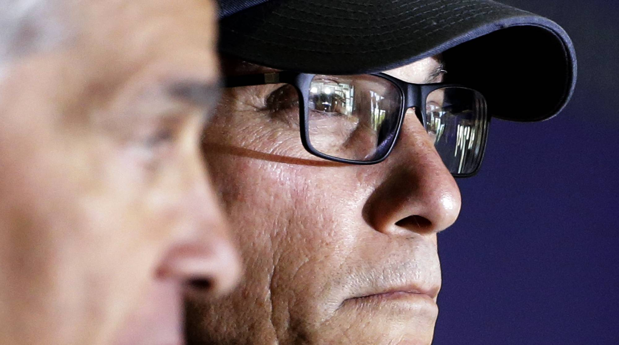 Chicago Bears head coach Marc Trestman listens to questions at a news conference during the team's NFL football training camp at Olivet Nazarene University on Wednesday, July 23, 2014., in Bourbonnais, Ill.