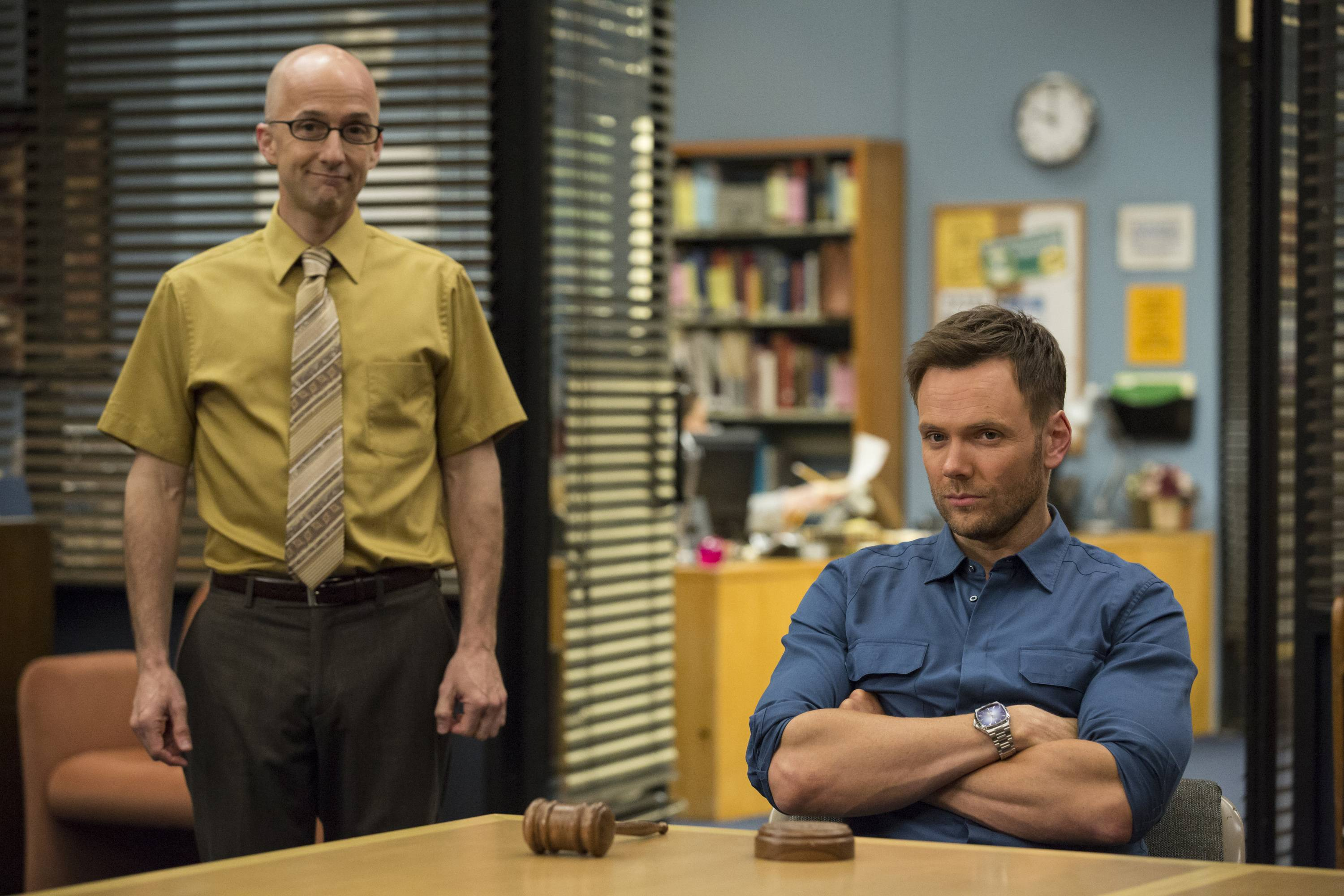 "Jim Rash, left, stars as Dean Pelton and Joel McHale as Jeff Winger in season 5 of ""Community,"" which moves online for its sixth season."