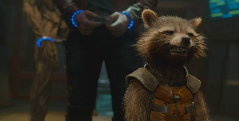 Rocket Raccoon (voiced by Bradley Cooper) and his pals band together to save the universe in Marvel's