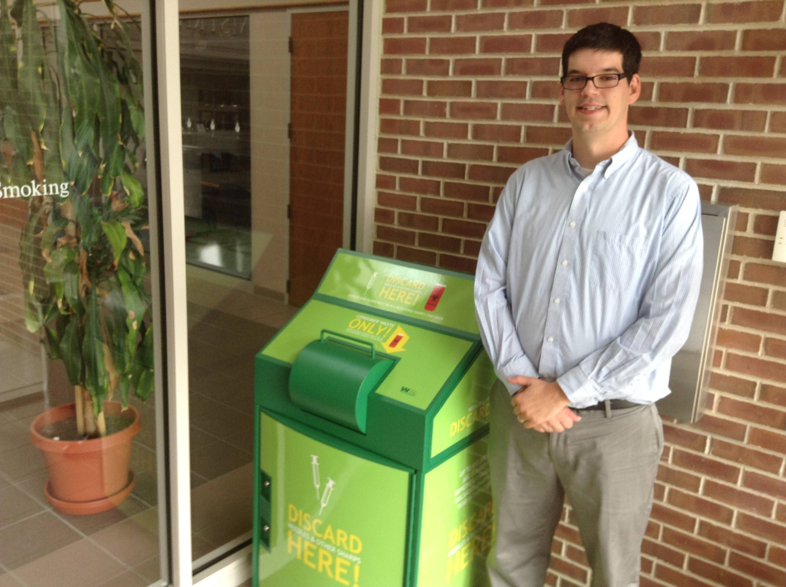 Gurnee residents may use this medical waste receptacle at village hall. Gurnee's assistant to the village administrator, Erik Jensen, said Friday the container has been used frequently since debuting this month.
