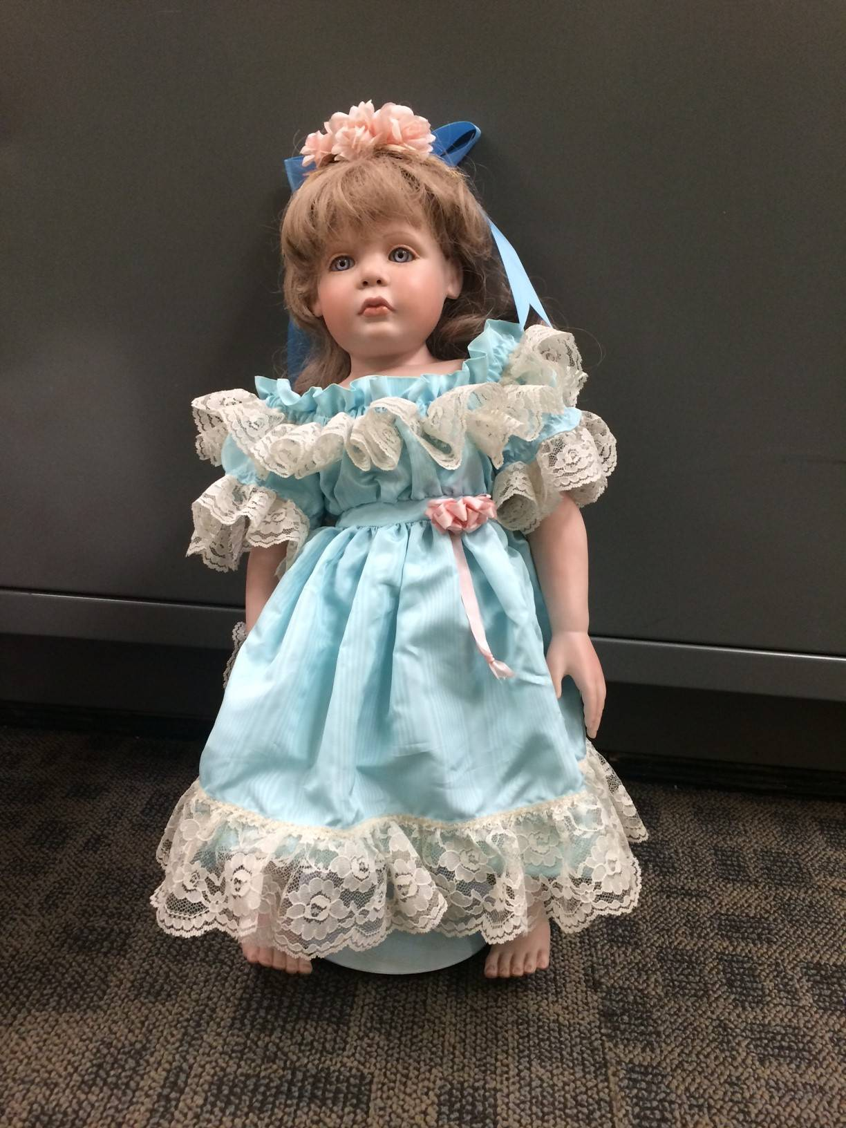 One of several dolls that have been found left on doorsteps in the last week in San Clemente, Calif. As many as eight homes have had porcelain dolls left on their doorsteps.