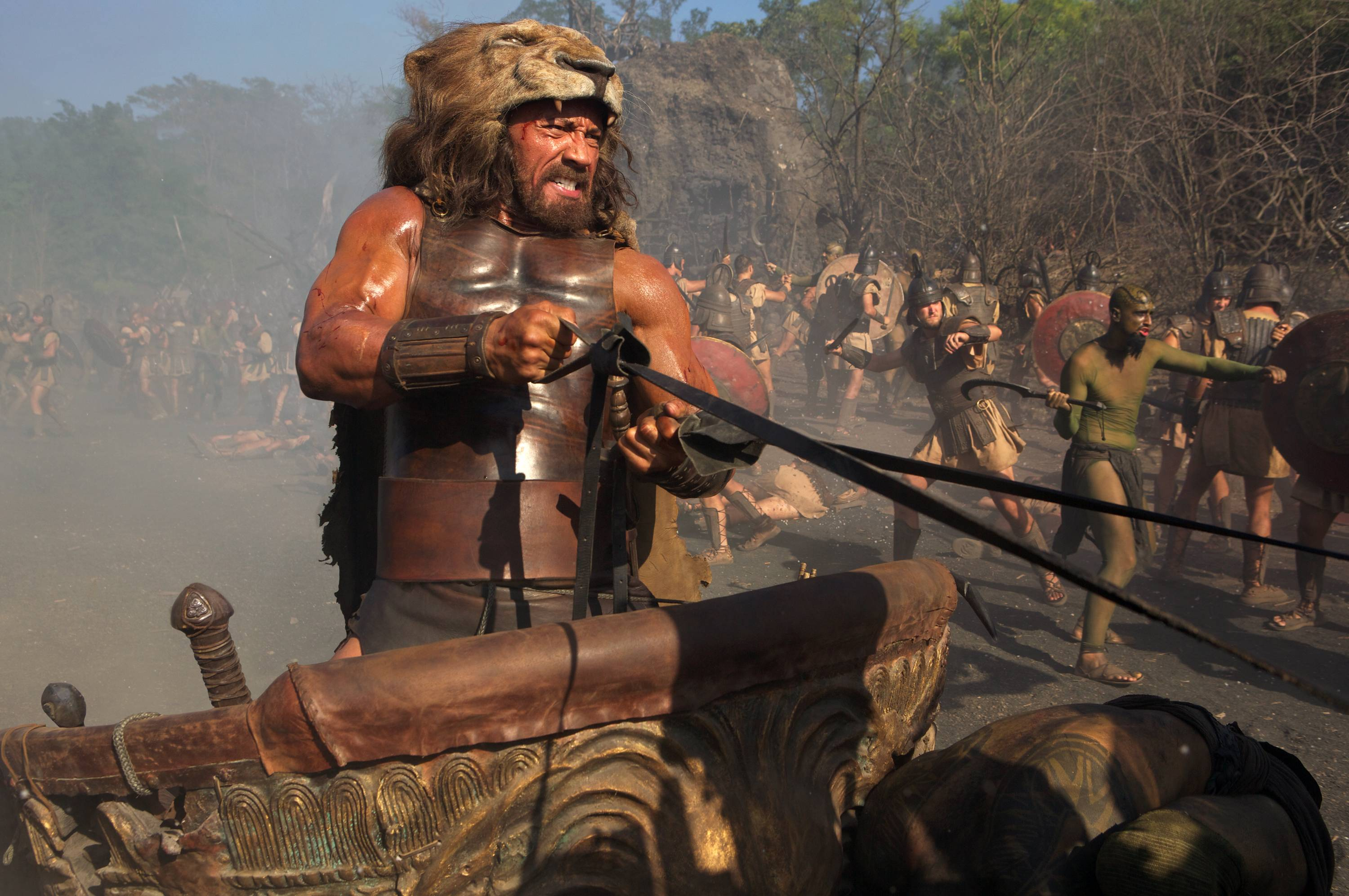 "Hercules (Dwayne Johnson) charges into battle in ""Hercules."""