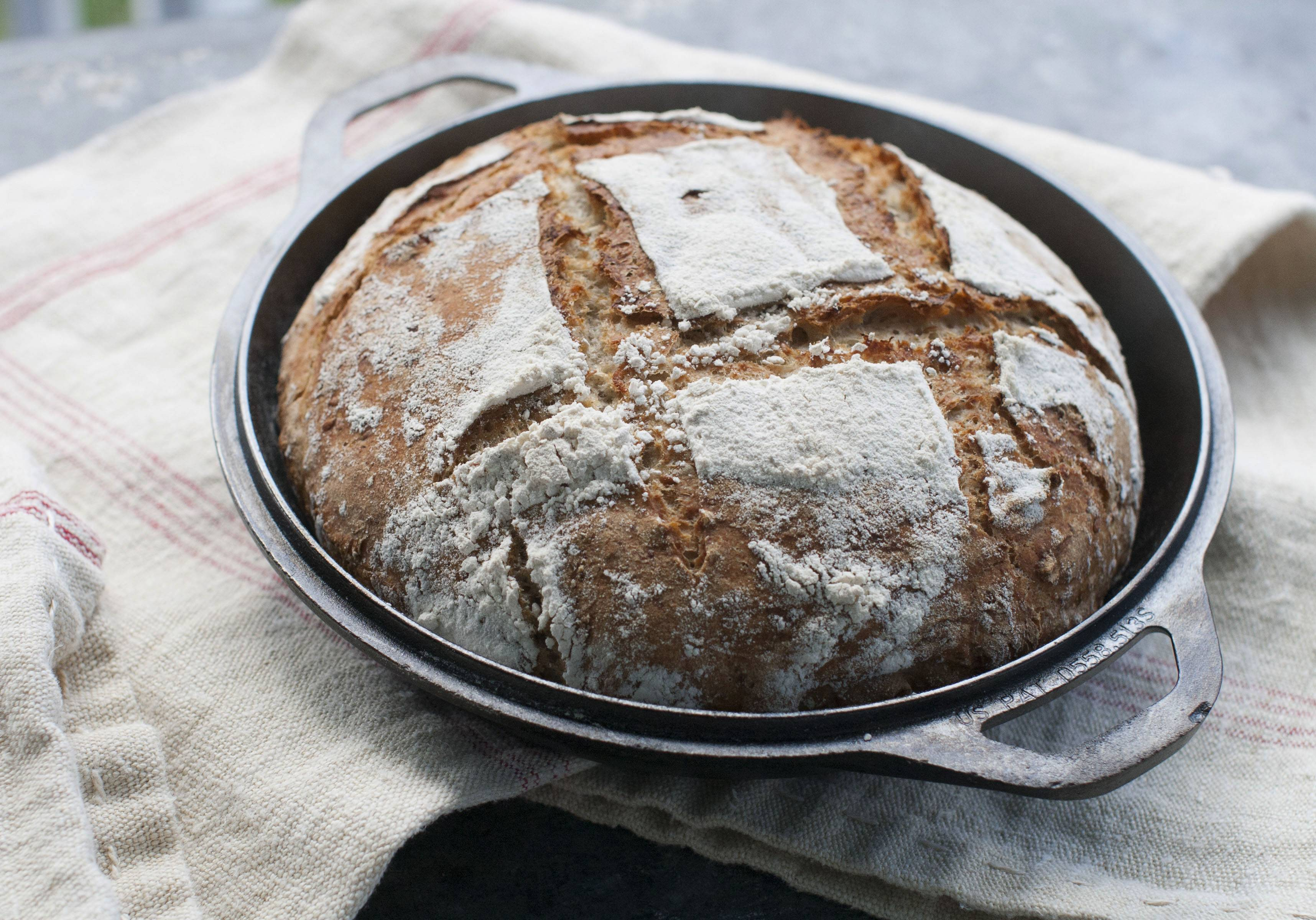 Baking multigrain bread in a Dutch oven gives it an artisanal quality.