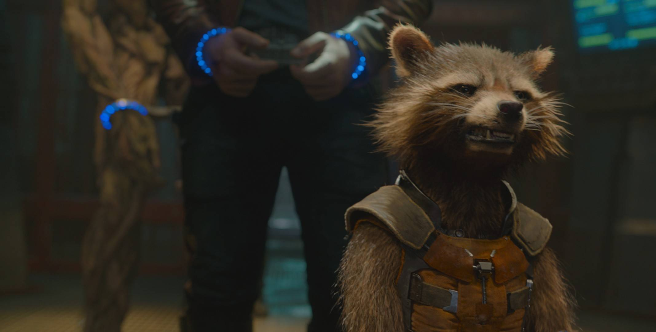 "Rocket Raccoon (voiced by Bradley Cooper) and his pals band together to save the universe in Marvel's ""Guardians of the Galaxy."""