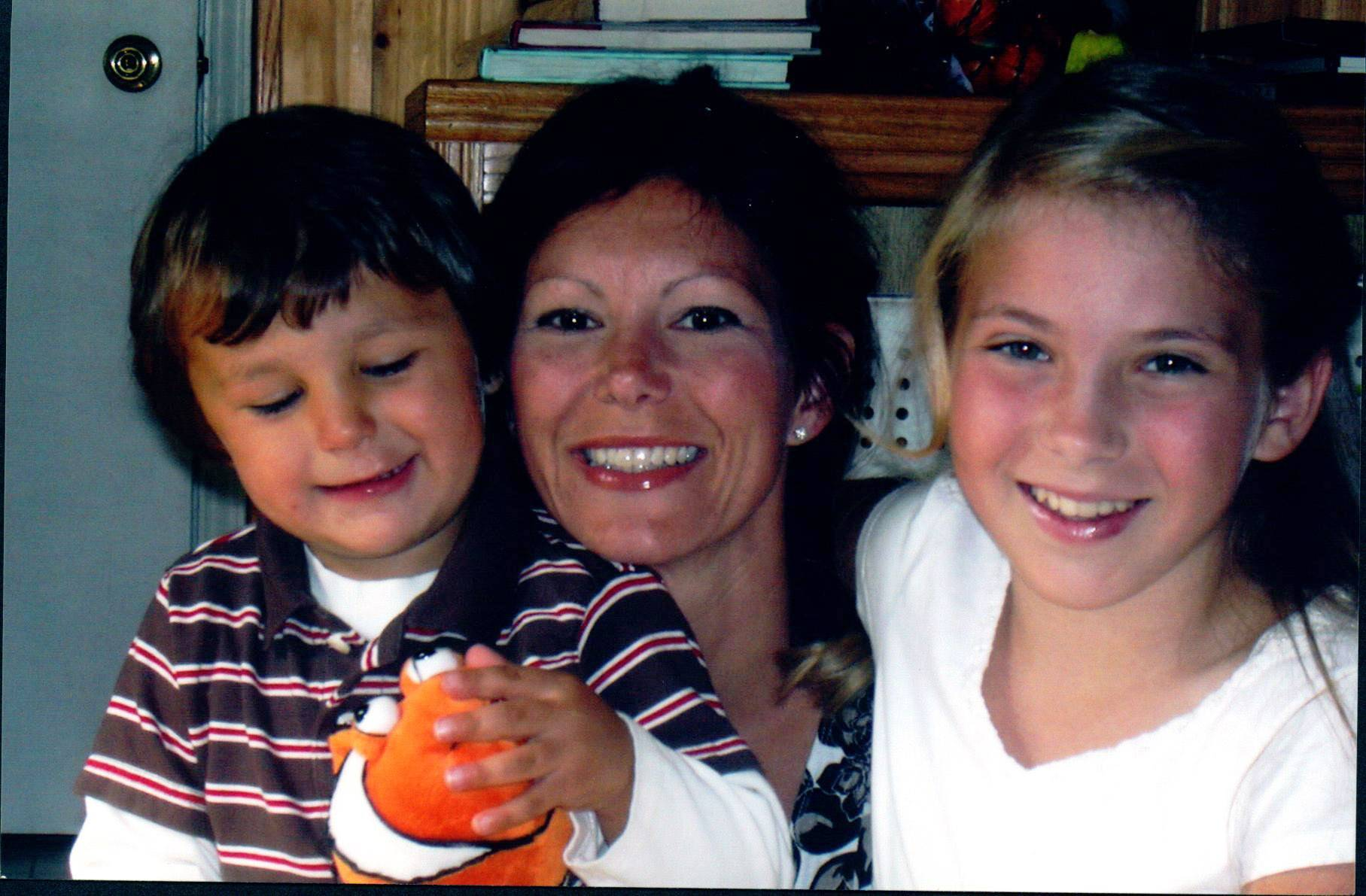 An earlier photo of Karen Wessel with her children, Michael, and Elizabeth.