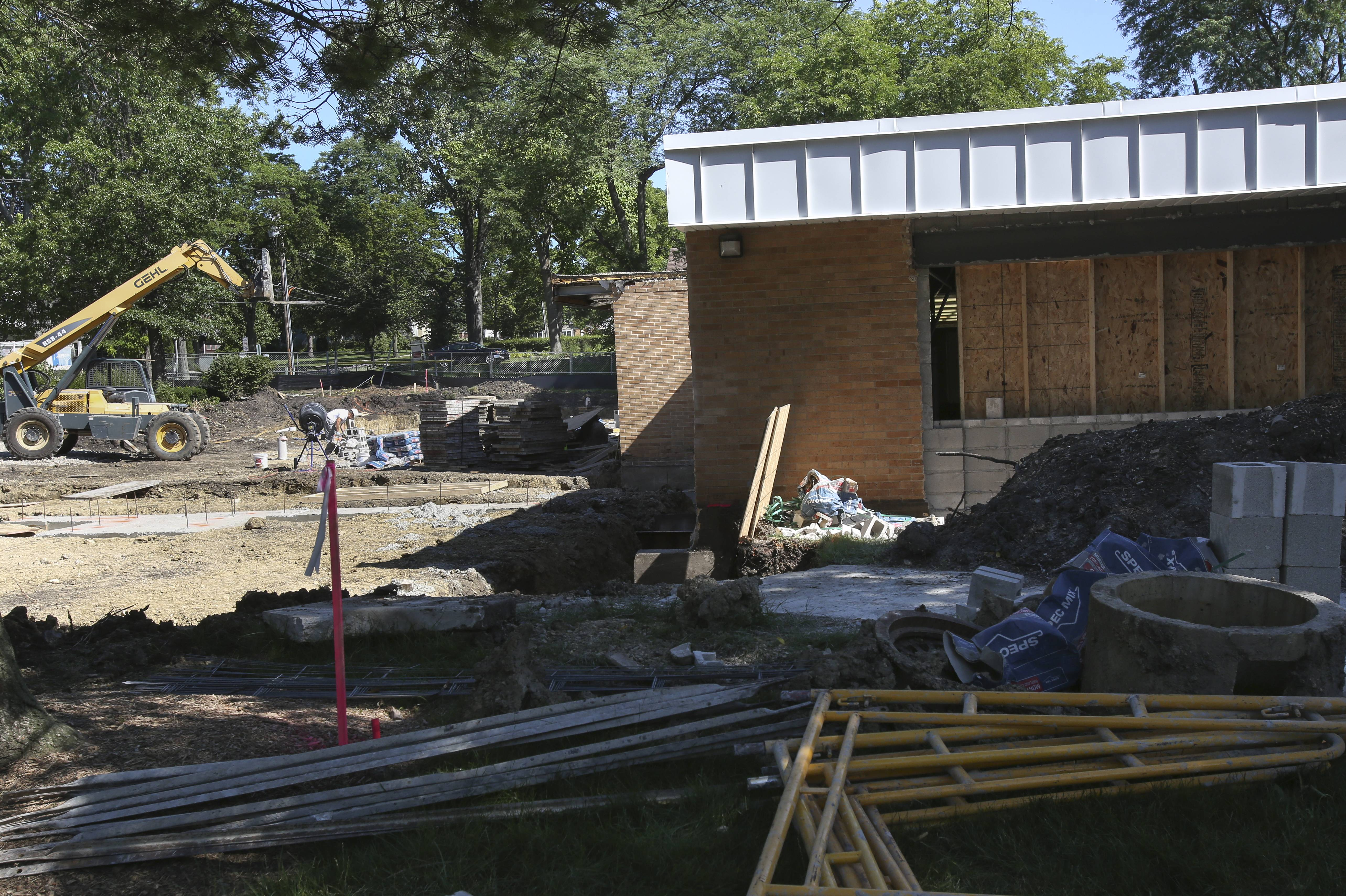 Construction work is in full swing at Lincoln Elementary School in Glen Ellyn, where crews are building a classroom addition that should be open after Christmas break.