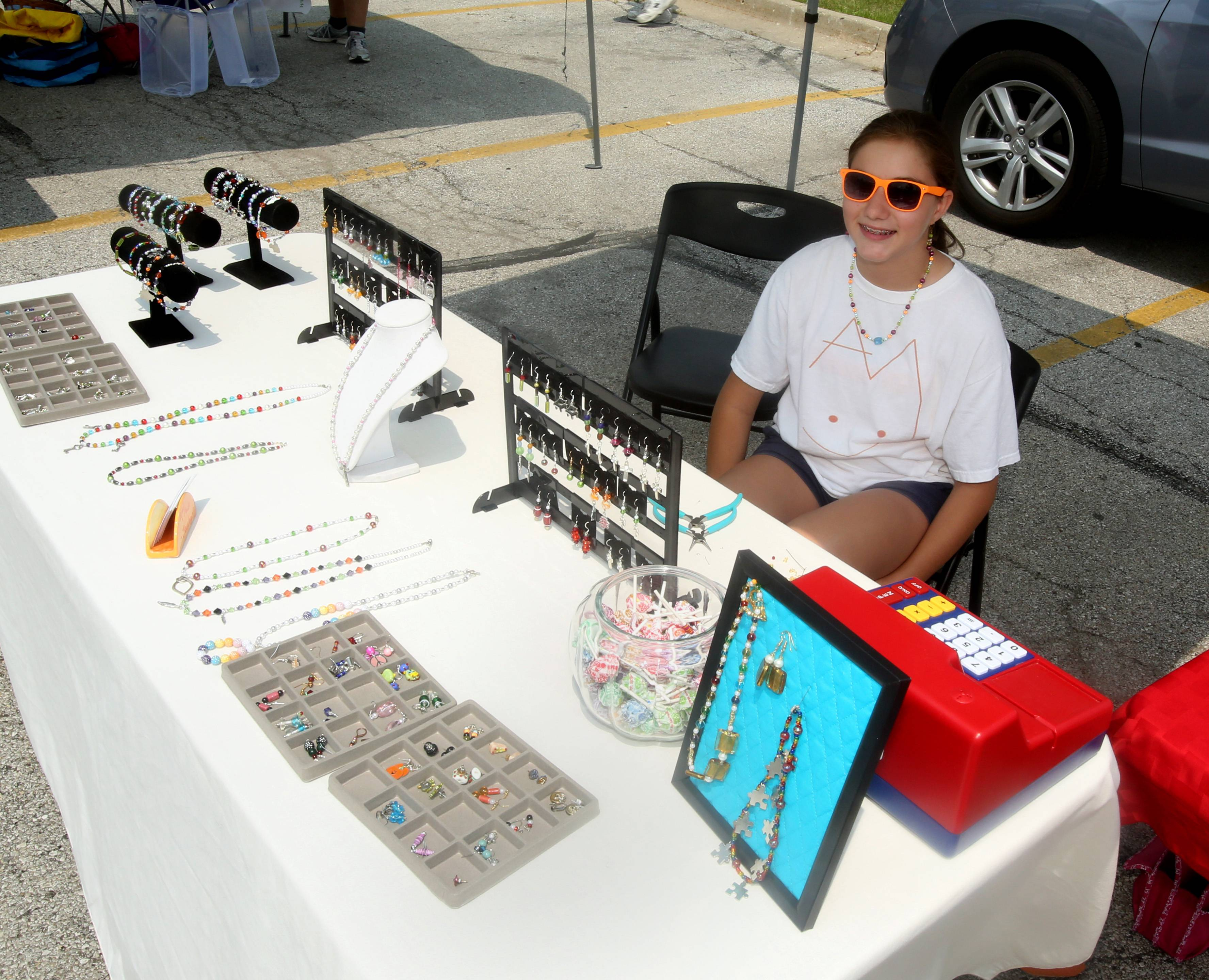 April Kochman of Aurora, who asked to sell her handmade jewelry at the Aurora farmers market two years ago, is now an experienced vendor who also sells at craft fairs.