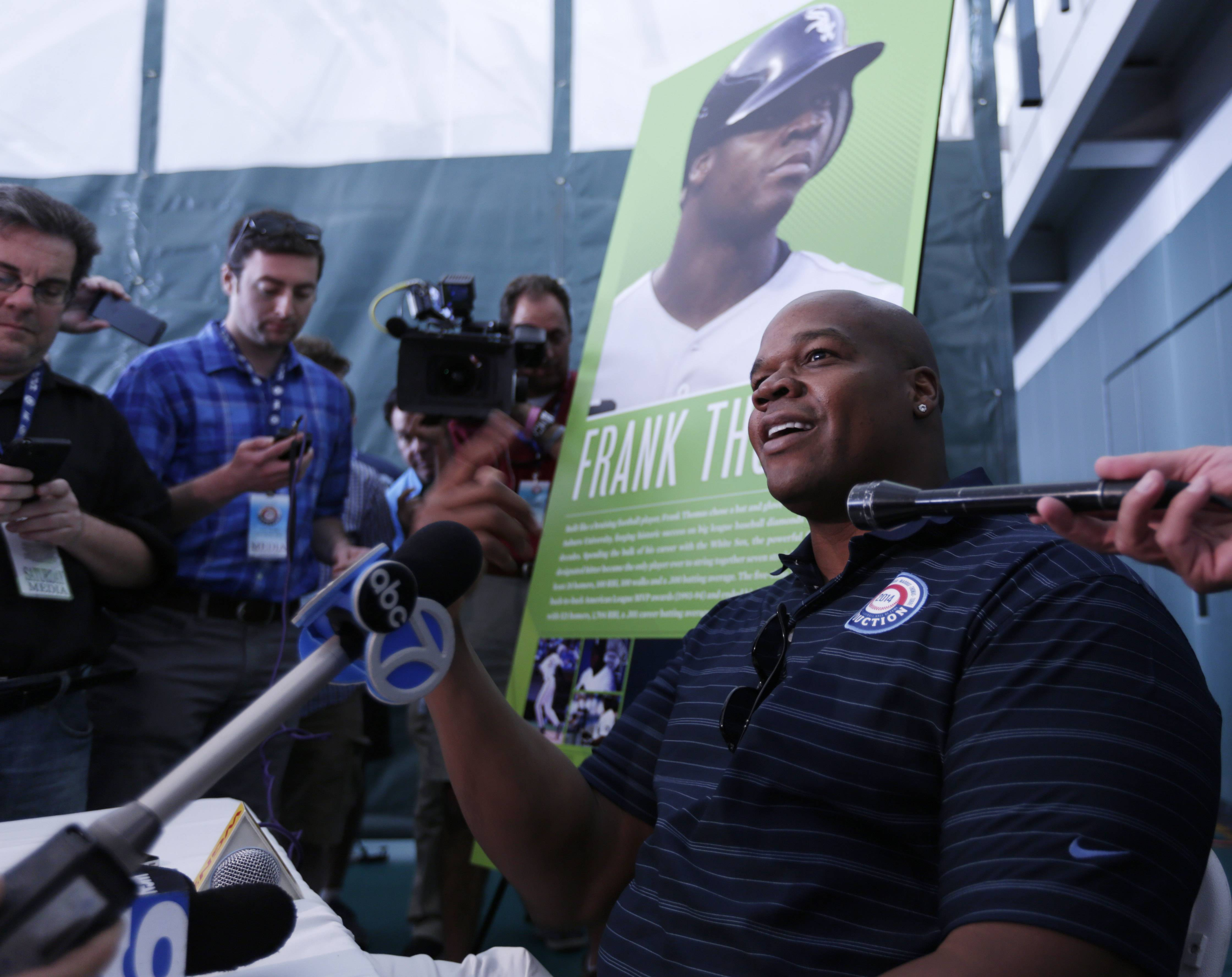 Frank Thomas again addressed the steroids era — and his disdain for it — during a news conference Saturday in Cooperstown, N.Y. Thomas will be inducted to the Hall of Fame on Sunday.