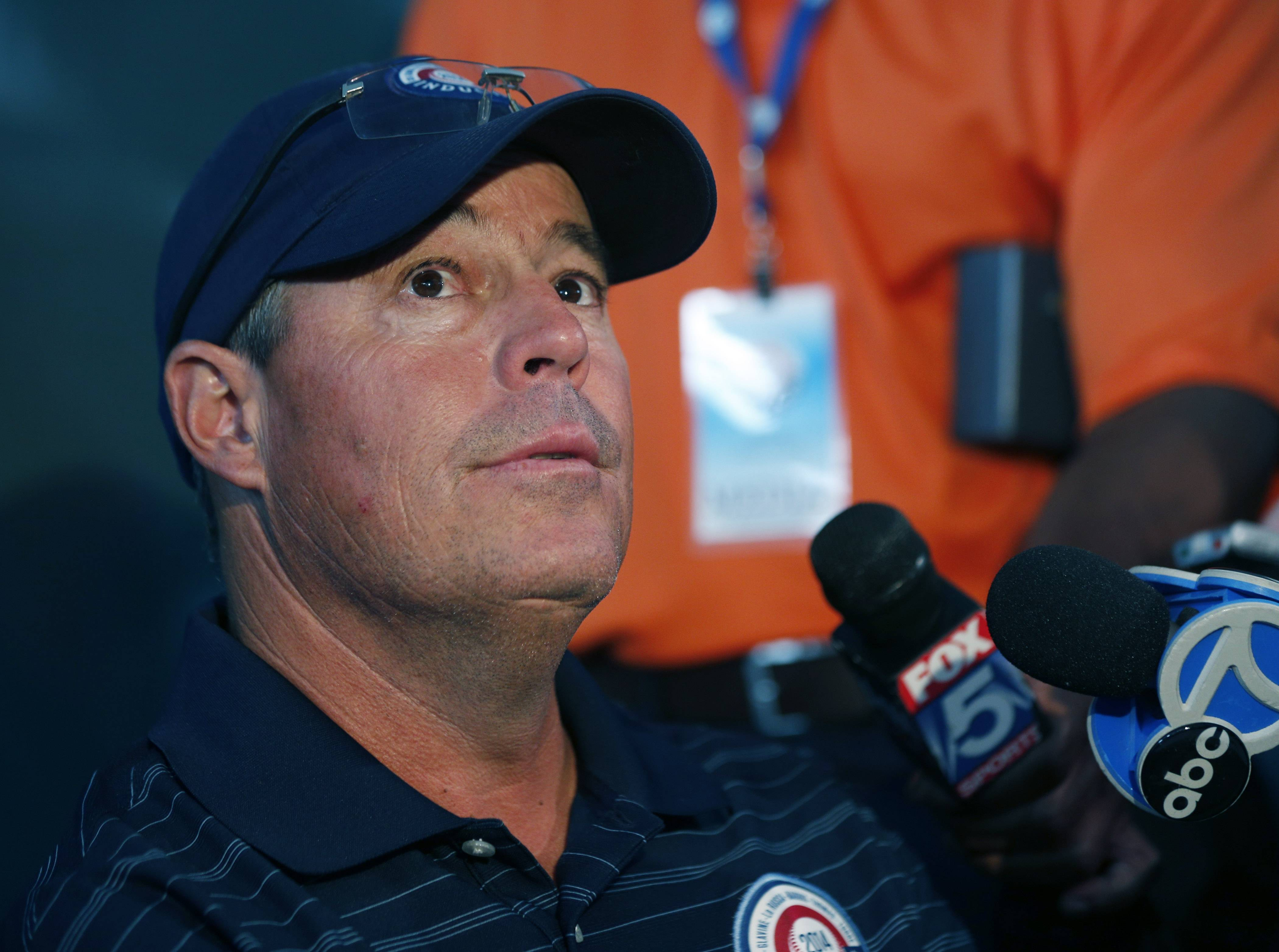 Former Cubs and Atlanta Braves pitcher Greg Maddux speaks during a news conference Saturday in Cooperstown, N.Y. Maddux will be inducted to the Baseball Hall of Fame on Sunday.