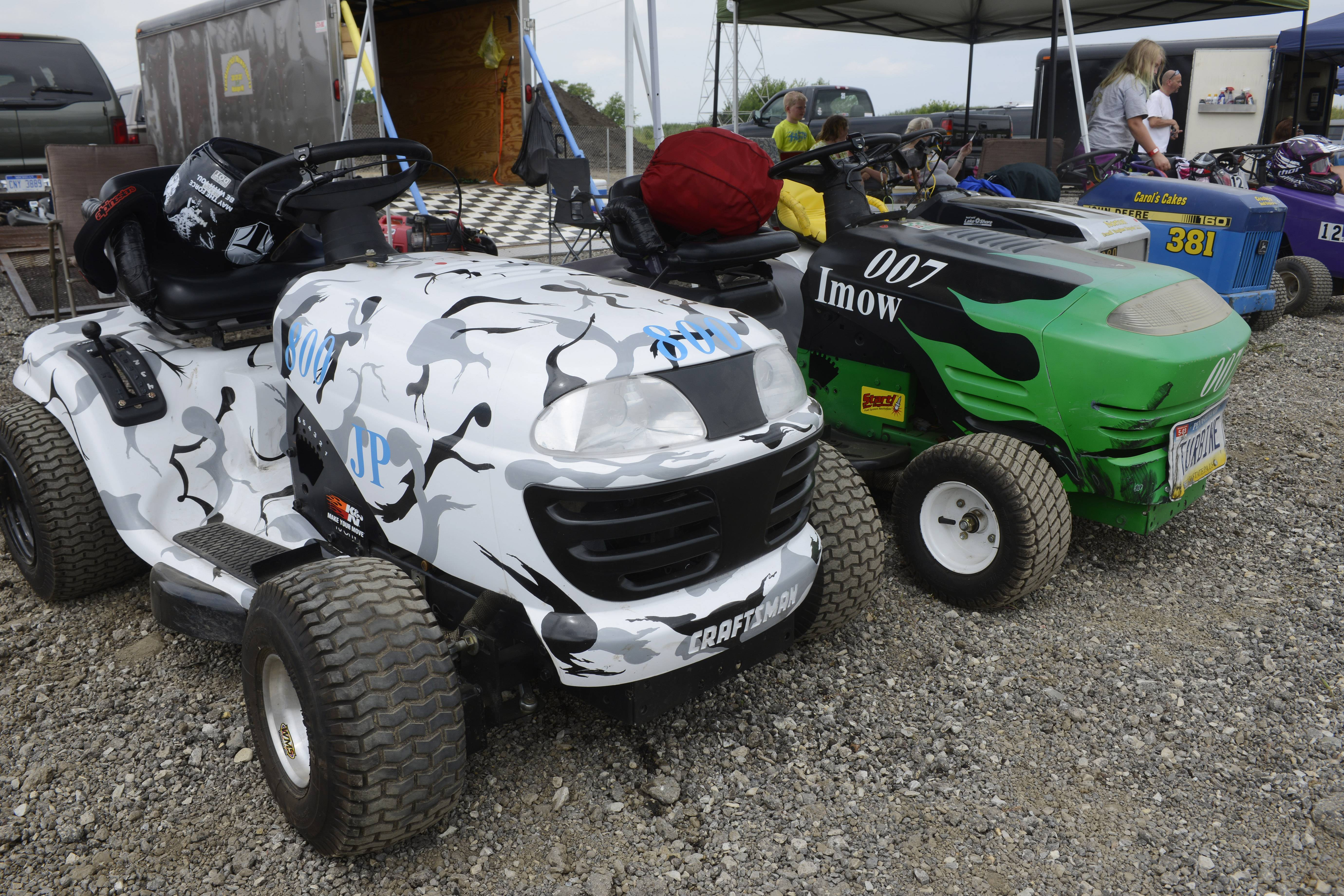 "Racers line the pit area at the ""Mow Down Showdown"" Saturday at Lake County Fair in Grayslake."