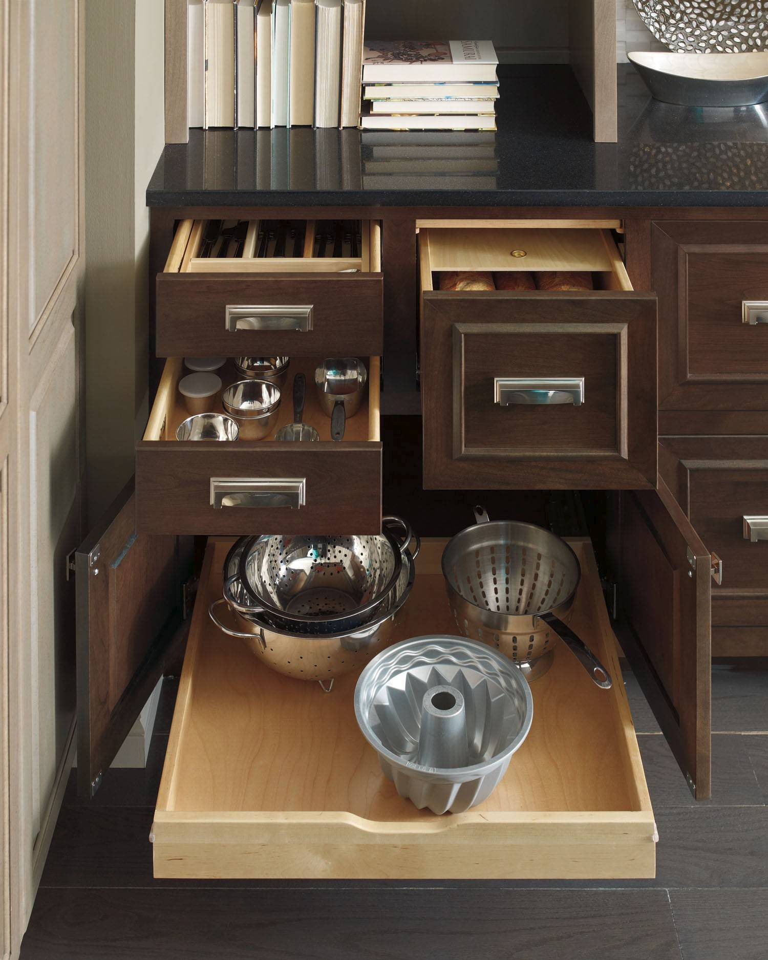 Full-access cabinetry makes it easier to access large items like pots and pans.
