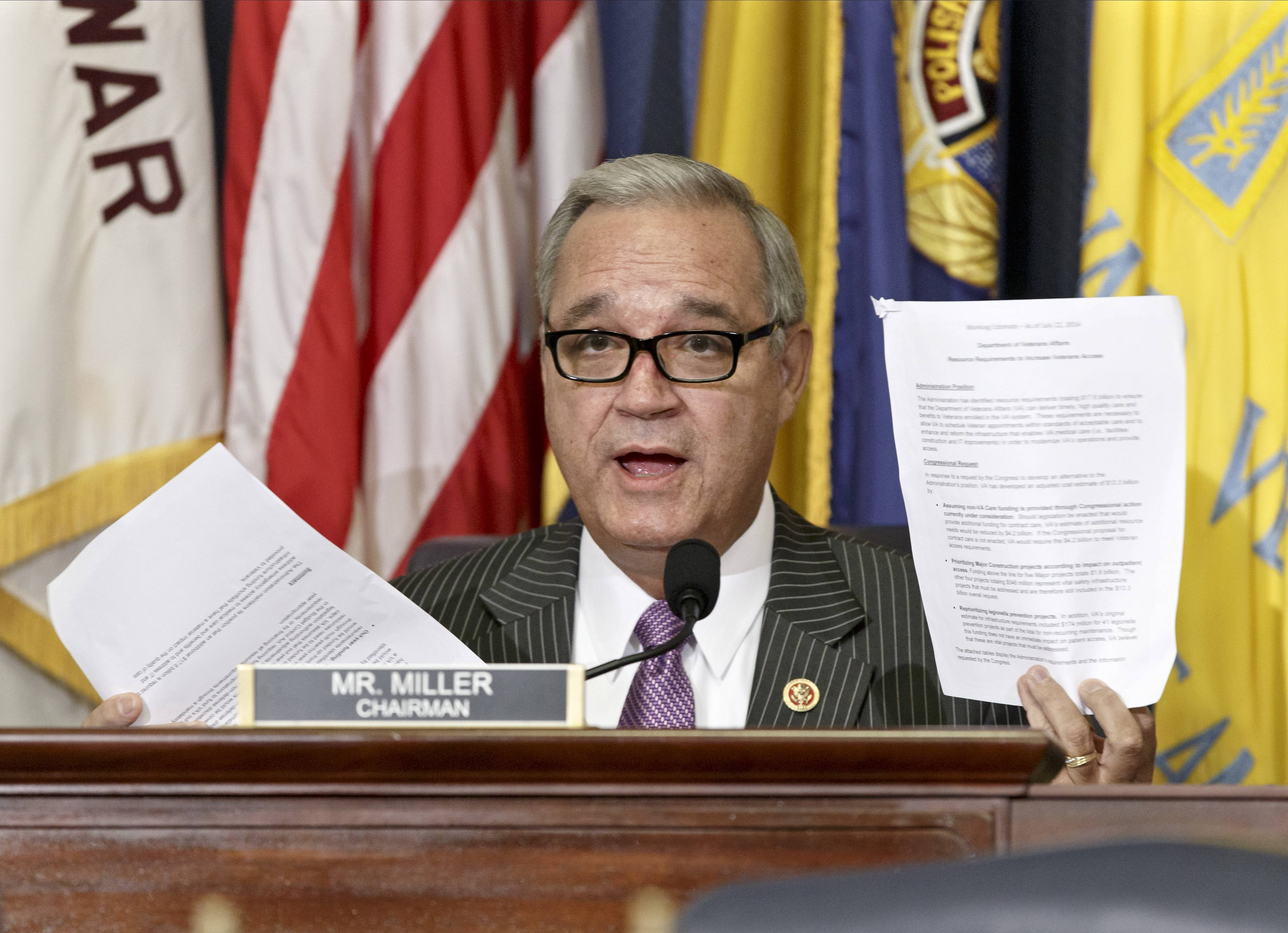 House Veterans Affairs Committee Chairman Jeff Miller, seen here, and Sen. Bernie Sanders have reached a tentative agreement on a plan to fix a veterans' health program scandalized by long patient wait times and falsified records covering up delays.